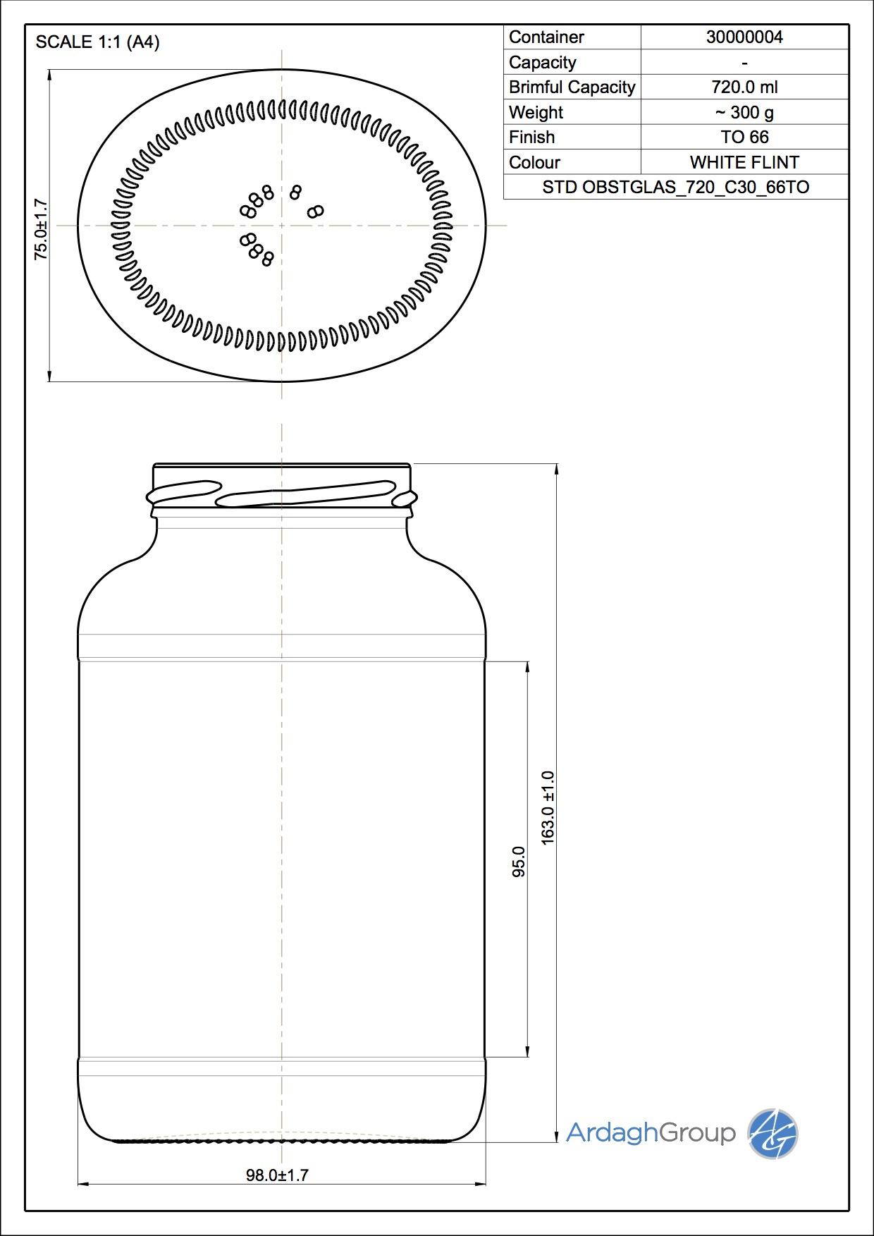 720ml flint glass food jar