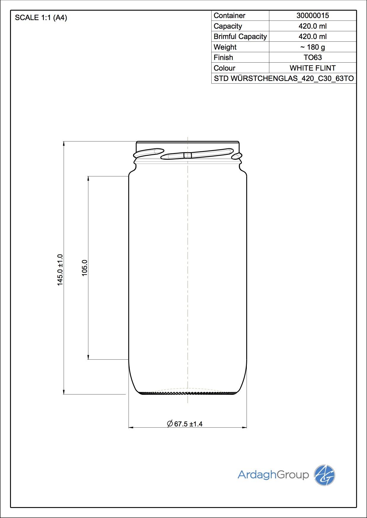 Wuerstchenglas 420 C30 63TO