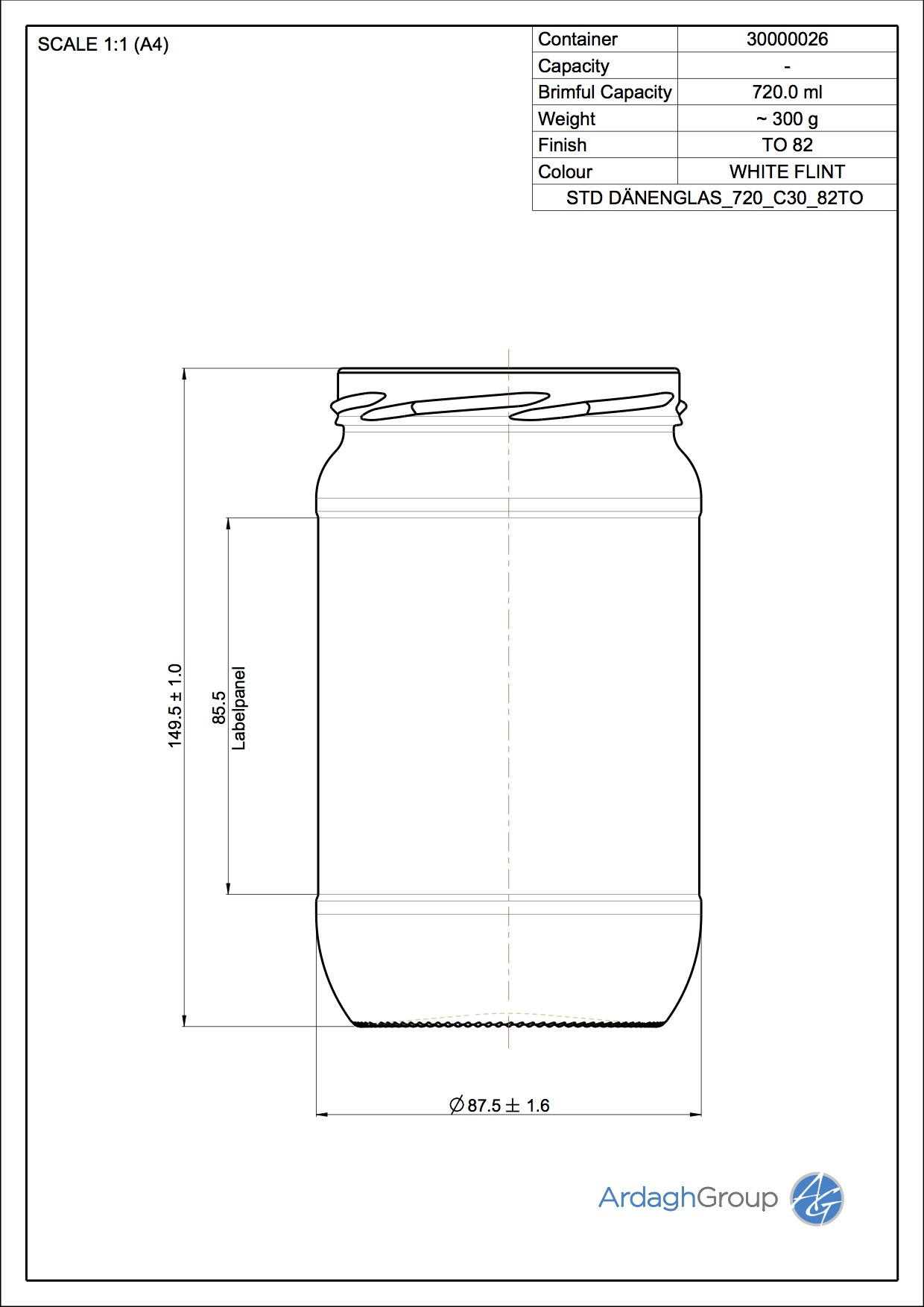 Daenenglas 720 C30 82TO