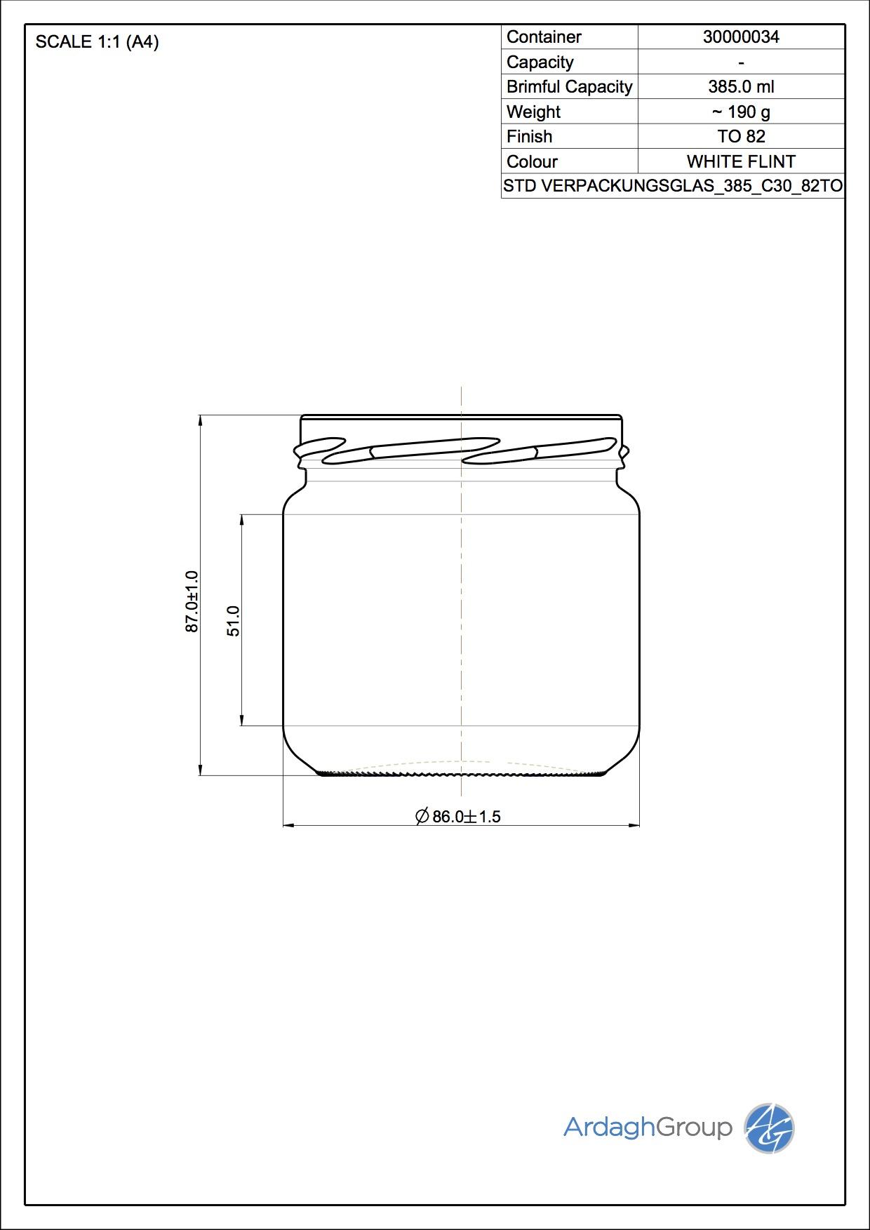 Verpackungsglas 385 C30 82TO