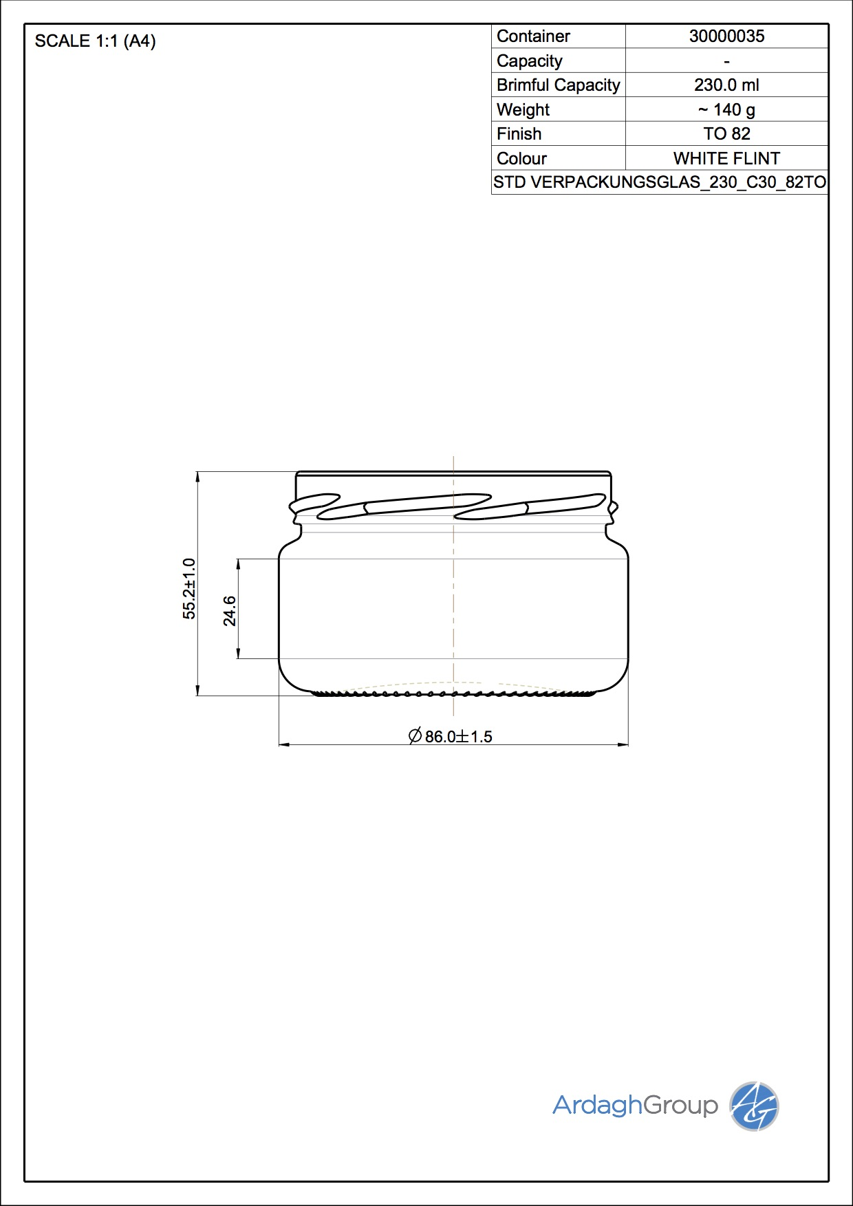 Verpackungsglas 230 C30 82TO