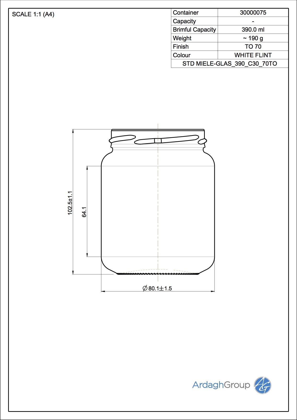 Miele-Glas 390 C30 70TO