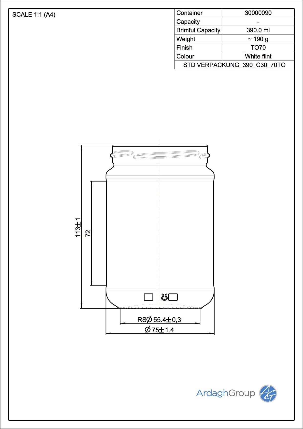 Verpackungsglas 390 C30 70TO