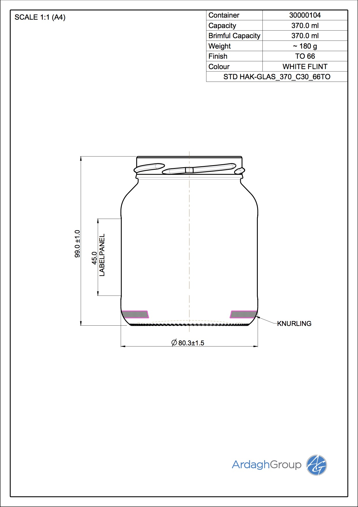 Verpack.Gl. HAK 370 C30 66TO