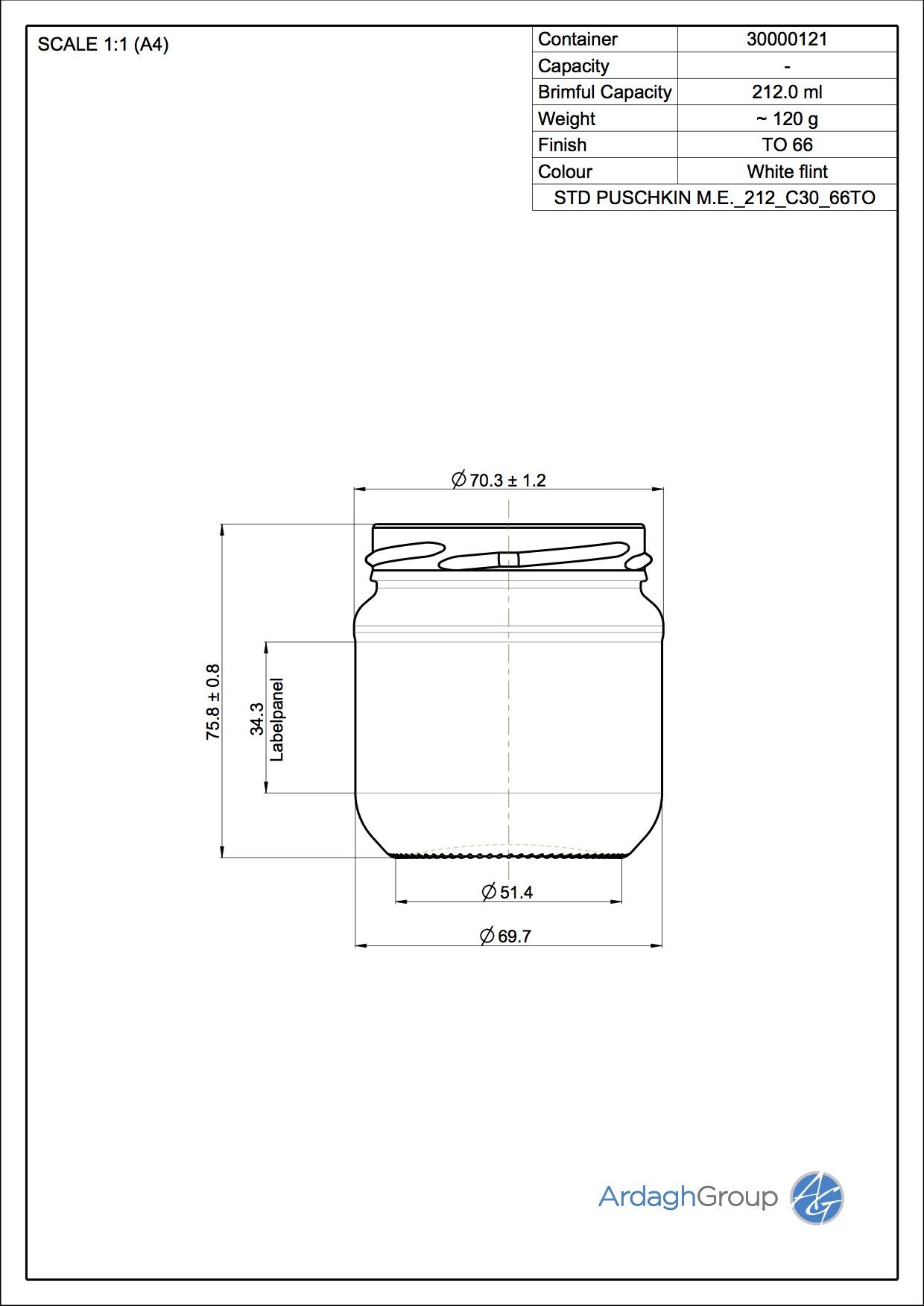 212ml Flint Glass Puschkin Food Jar 30000121