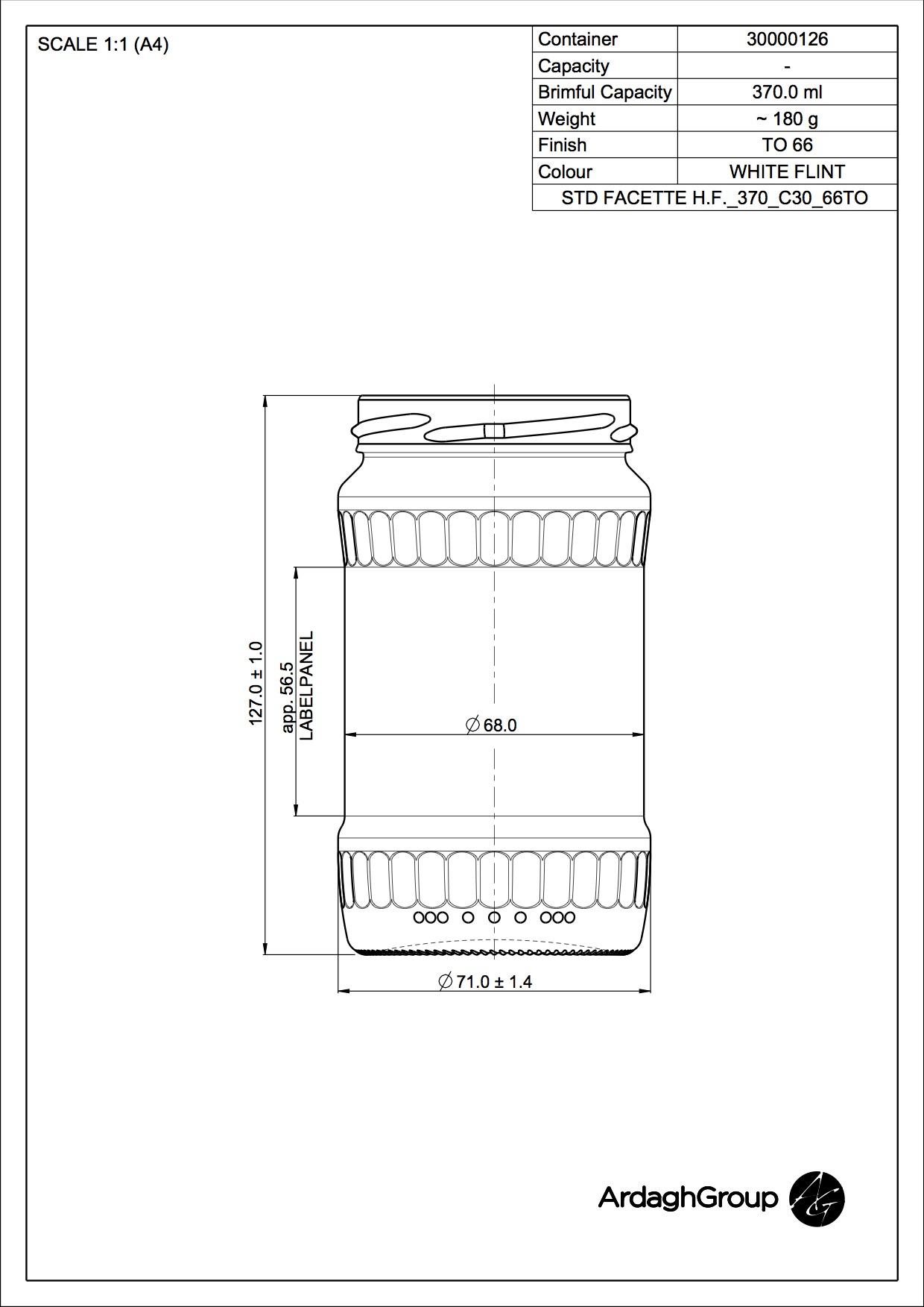 Facettenglas H.F. 370 C30 66TO