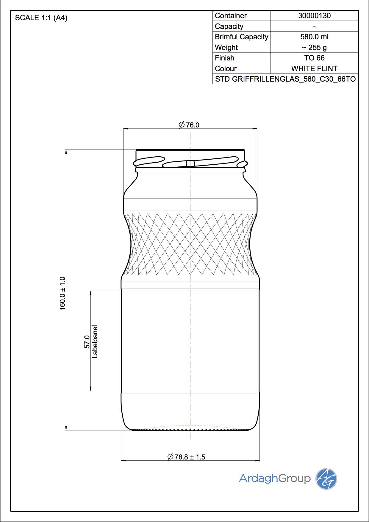 580ml flint glass food jar