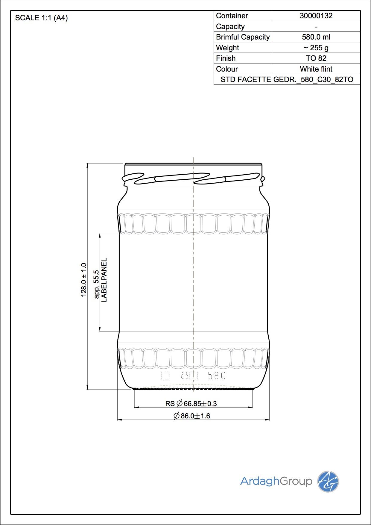 Facettenglas Gedr. 580 C30 82TO