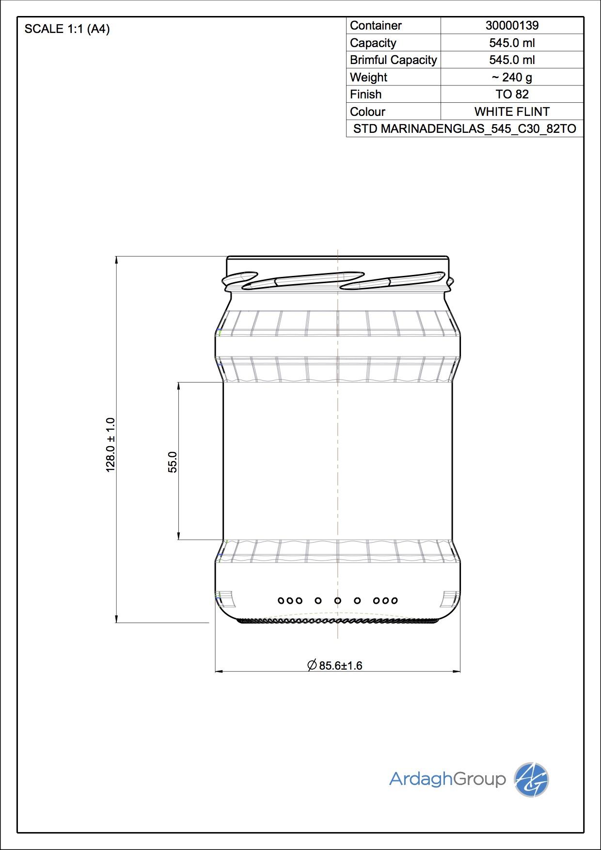 Marinandenglas 545 C30 82TO
