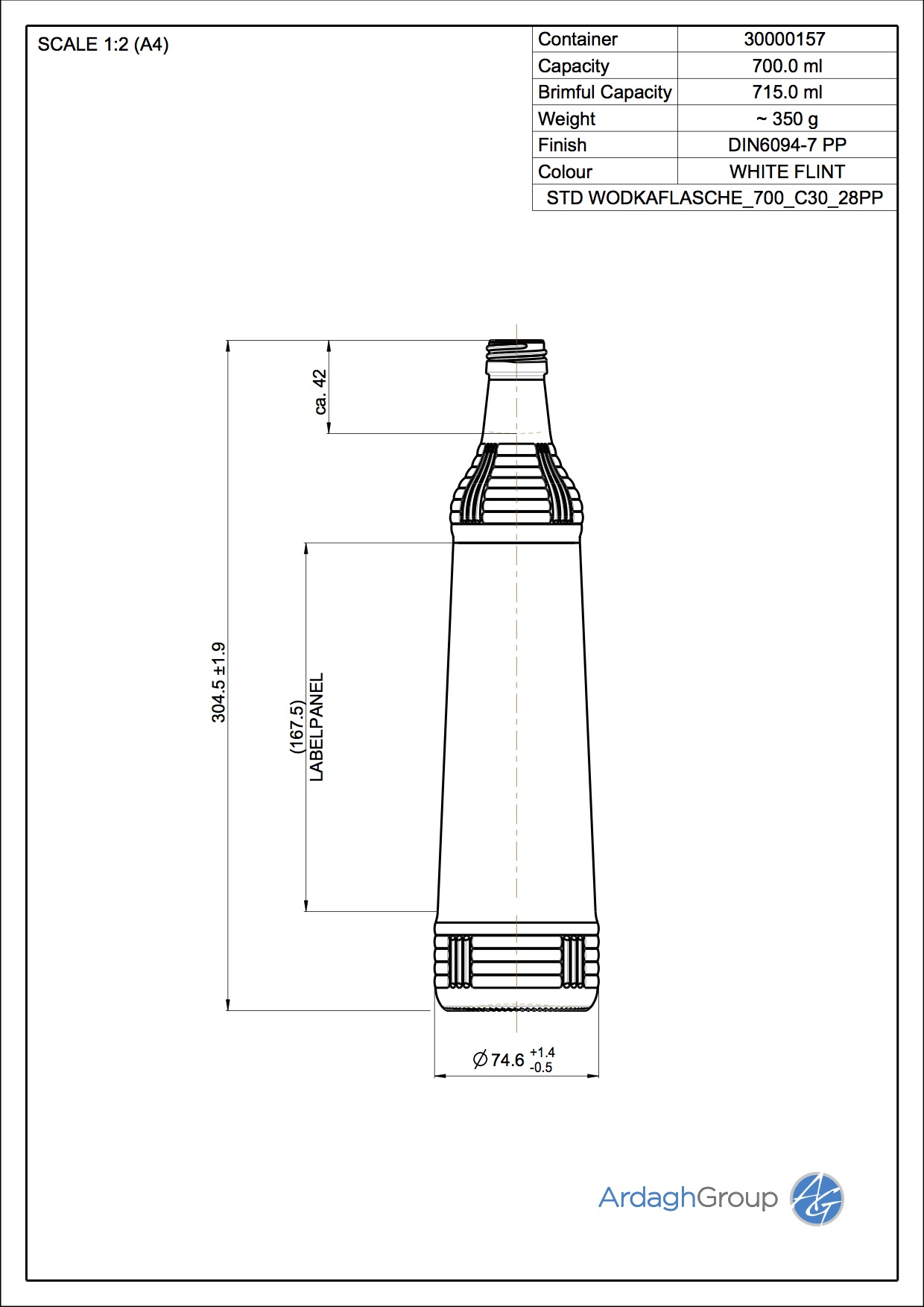 700ml Flint Glass Wodka Spirit Bottle 30000157