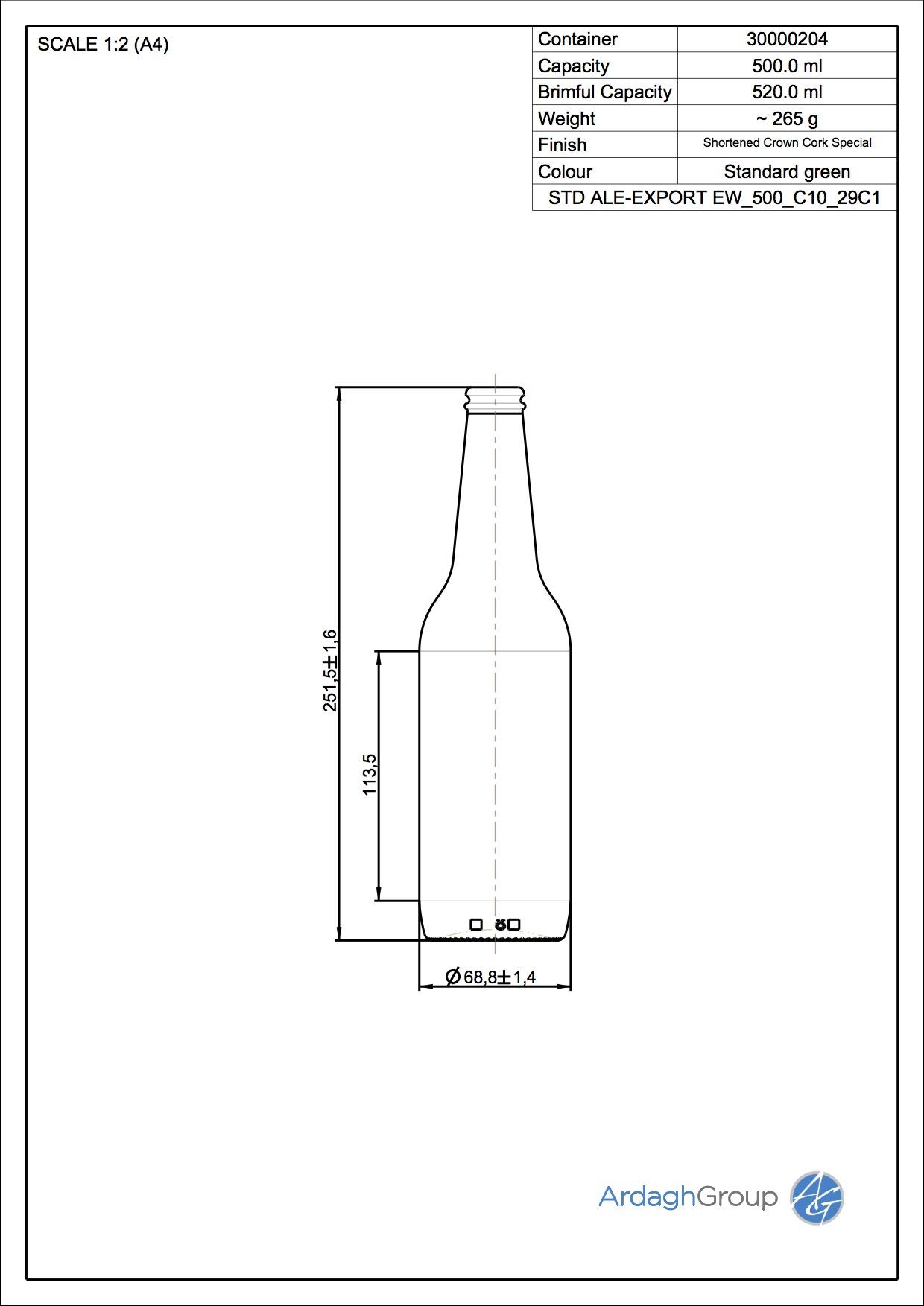 500ml Green Glass Ale-Export Beer Oneway Bottle 30000204