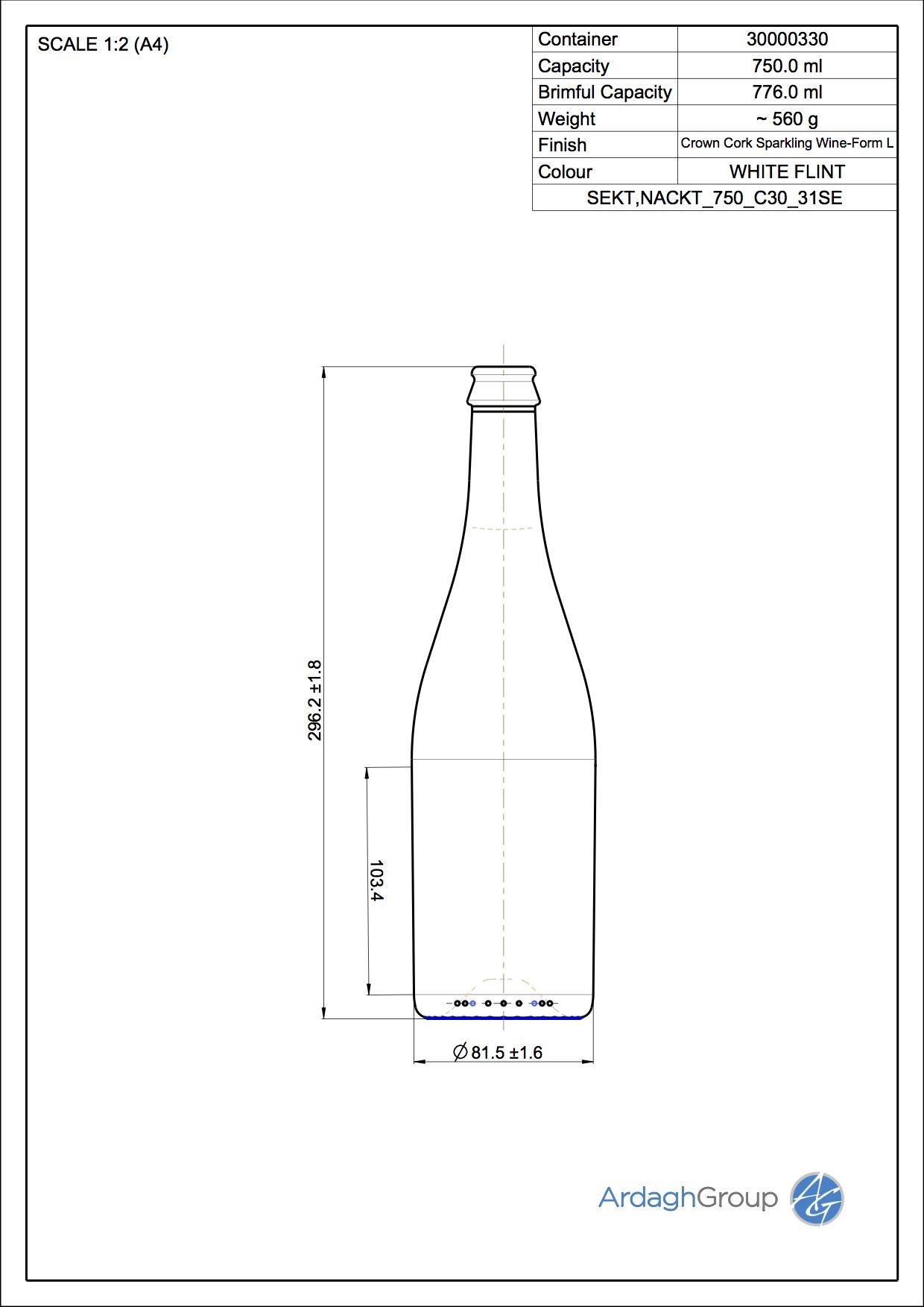 750ml flint glass Sekt Nackt oneway wine bottle