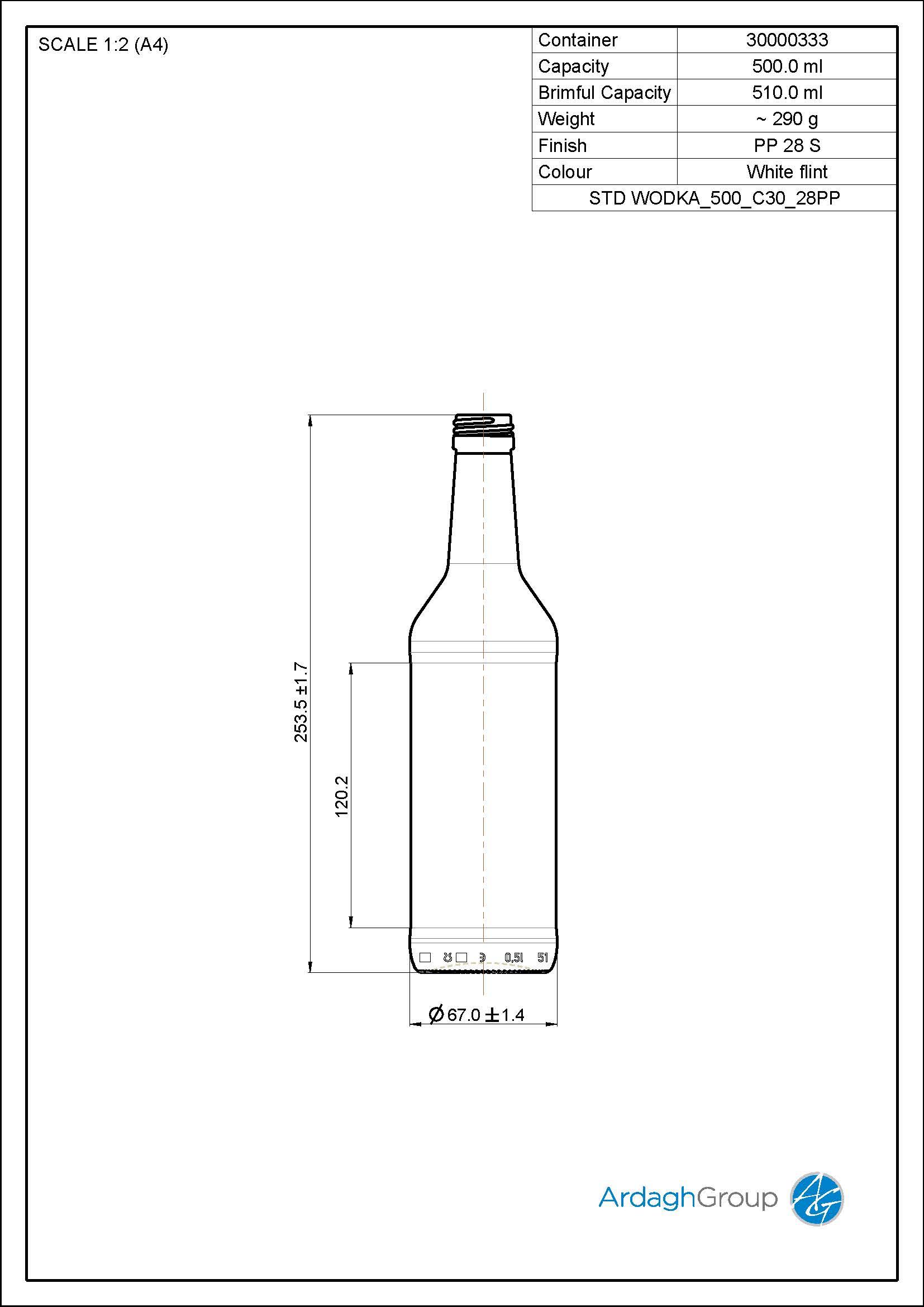 500ml flint glass Wodka spirits bottle