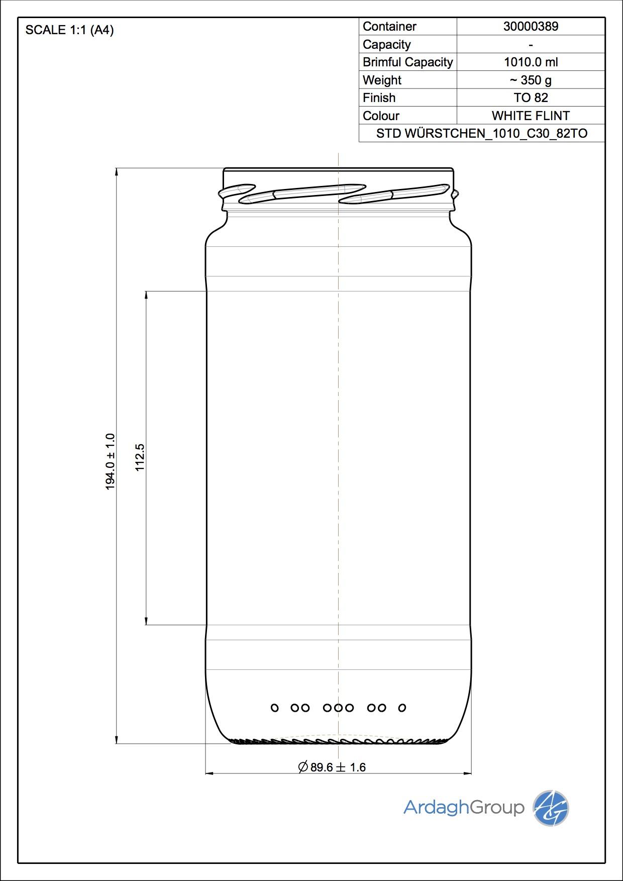 Wuerstchenglas 1010 C30 82TO