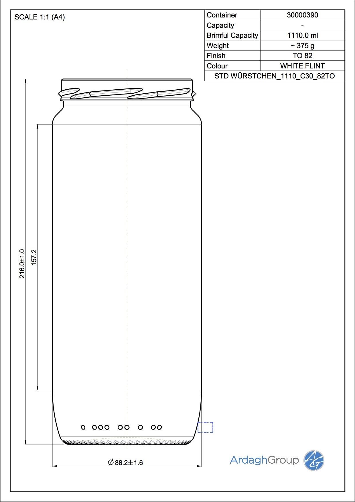 Wuerstchenglas 1110 C30 82TO