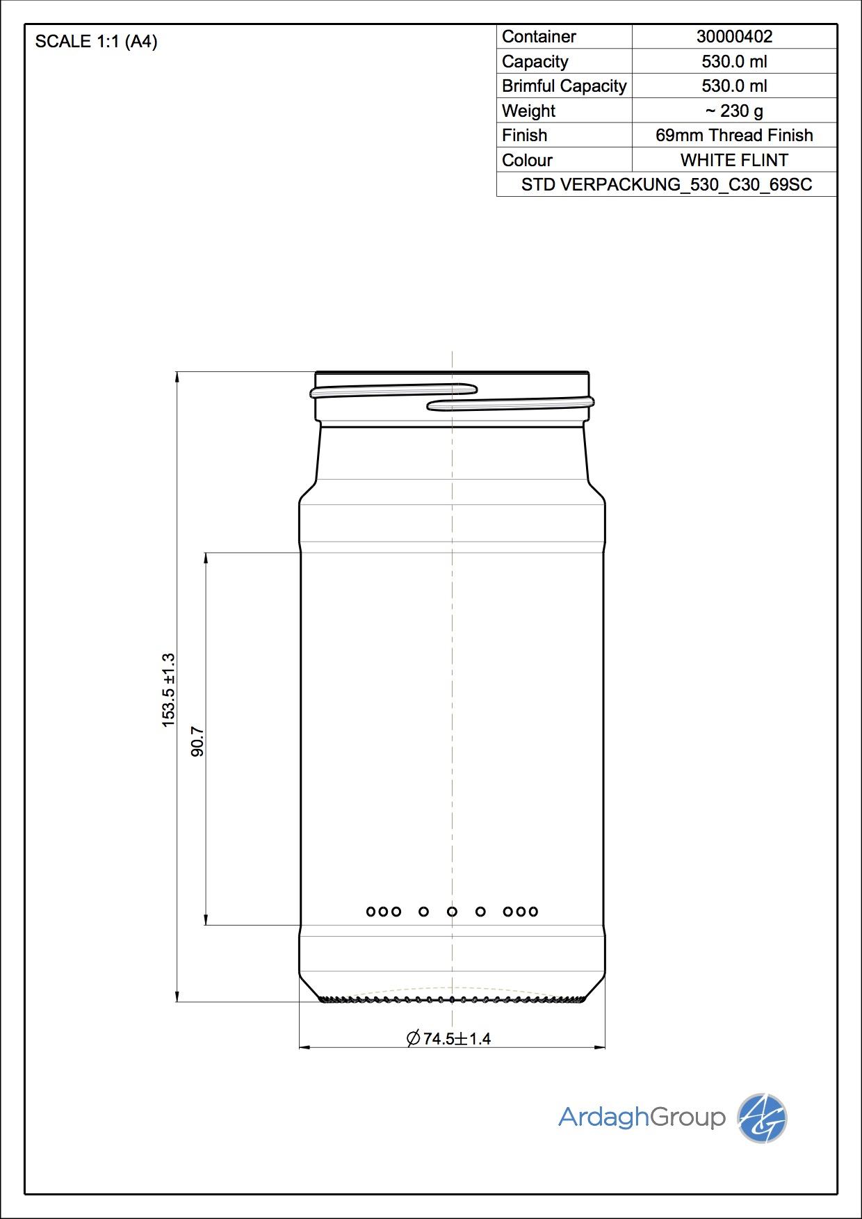 Verpackungsglas 530 C30 69SC