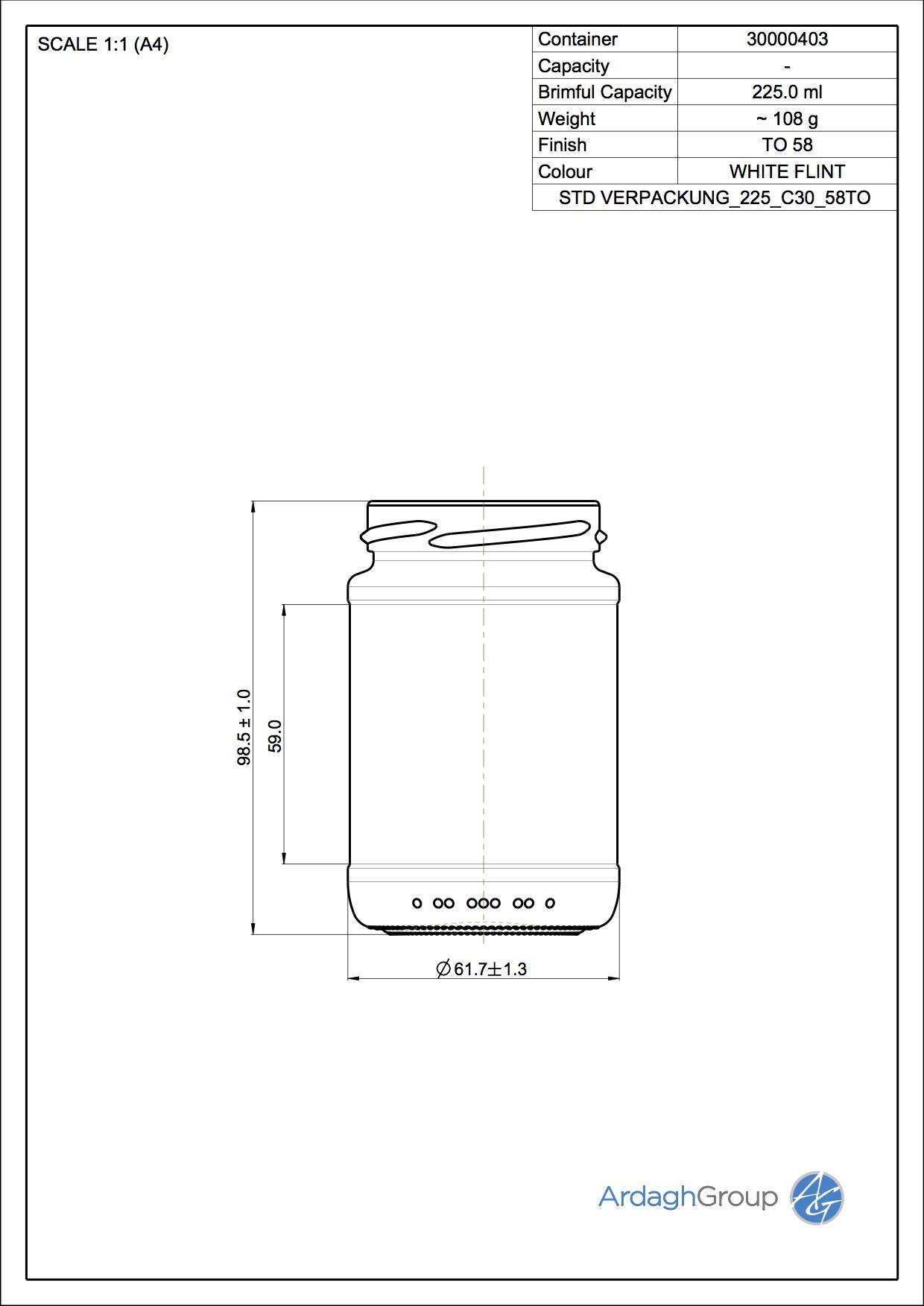 Verpackungsglas 225 C30 58TO