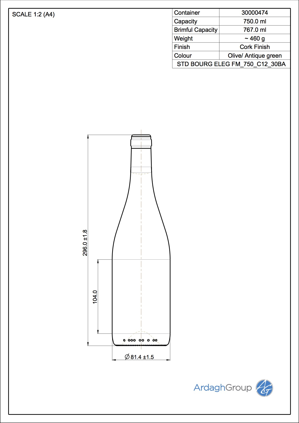 750ml green glass Bourg Eleg oneway wine bottle
