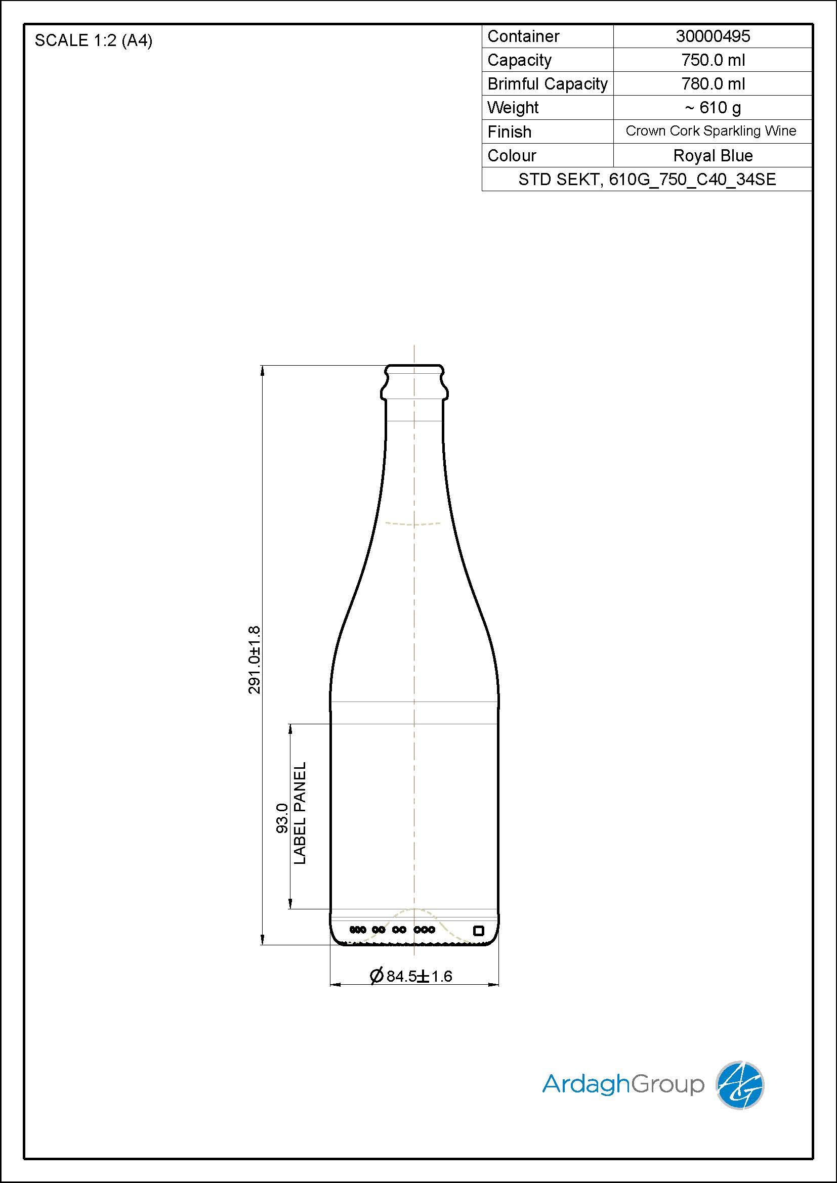 Sektflasche 750 C40 29SE