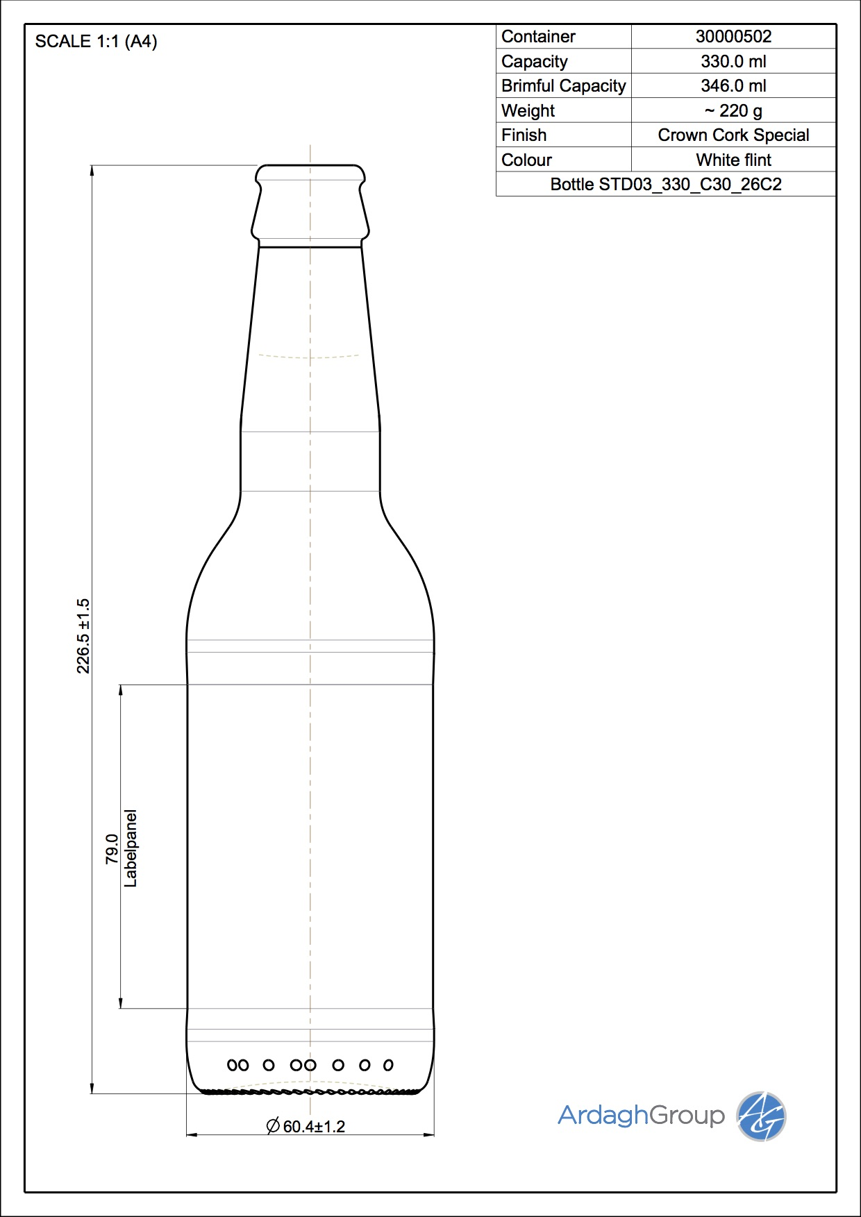 Bottle STD03-330-FL-26C2