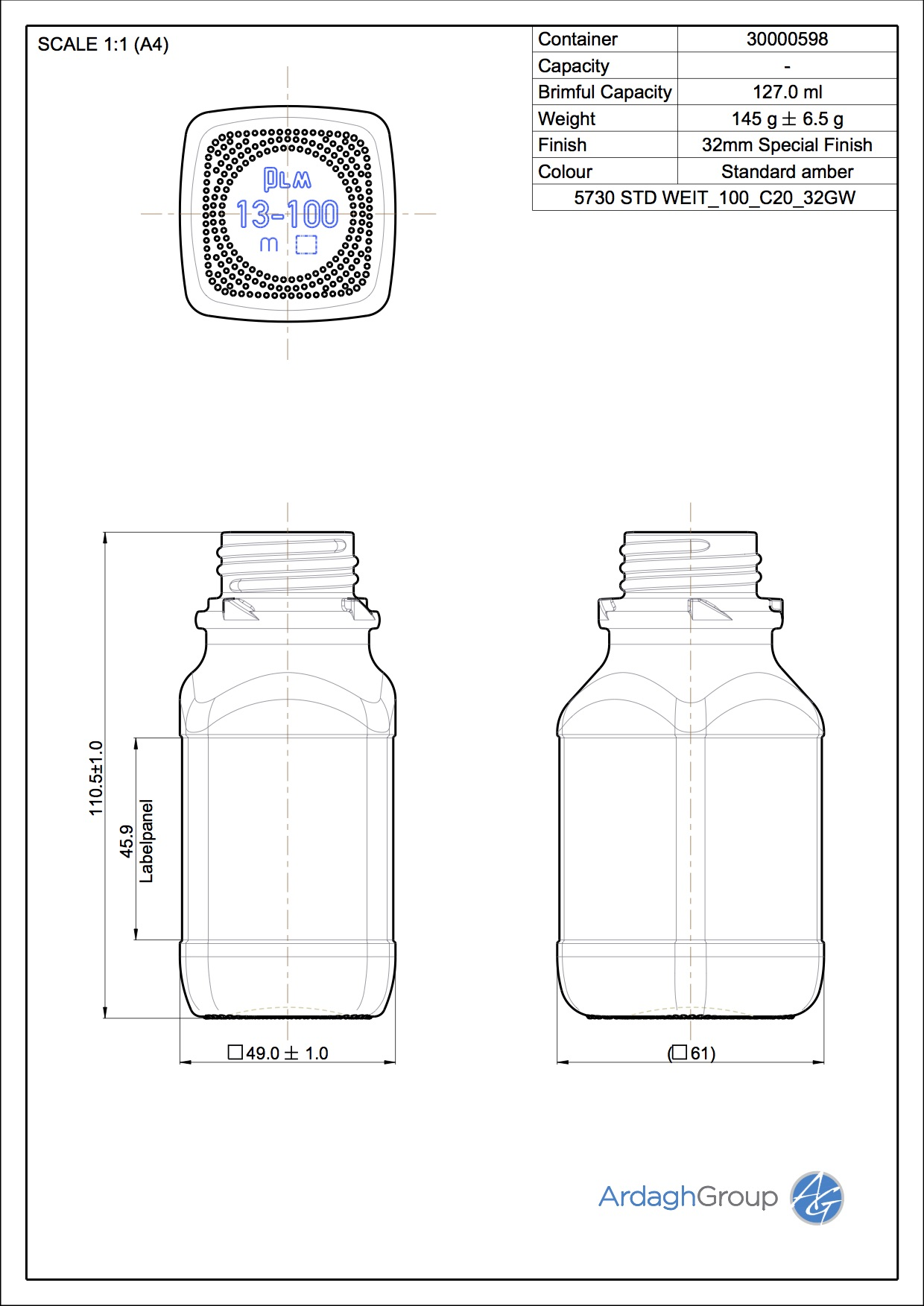 chemical bottle wide 100 ml