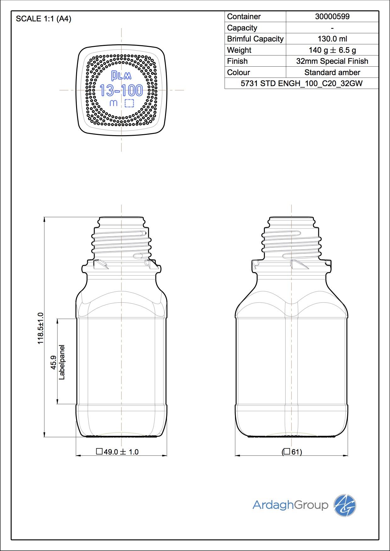 chemical bottle 100 ml