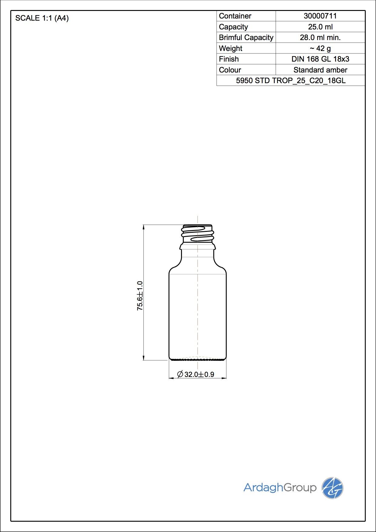 25ml amber glass dropper bottle