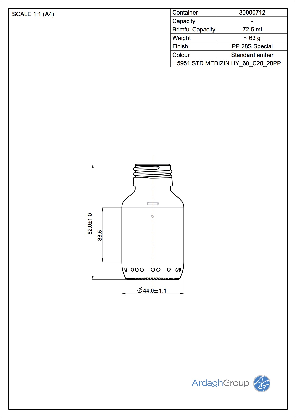60ml amber glass syrup bottle