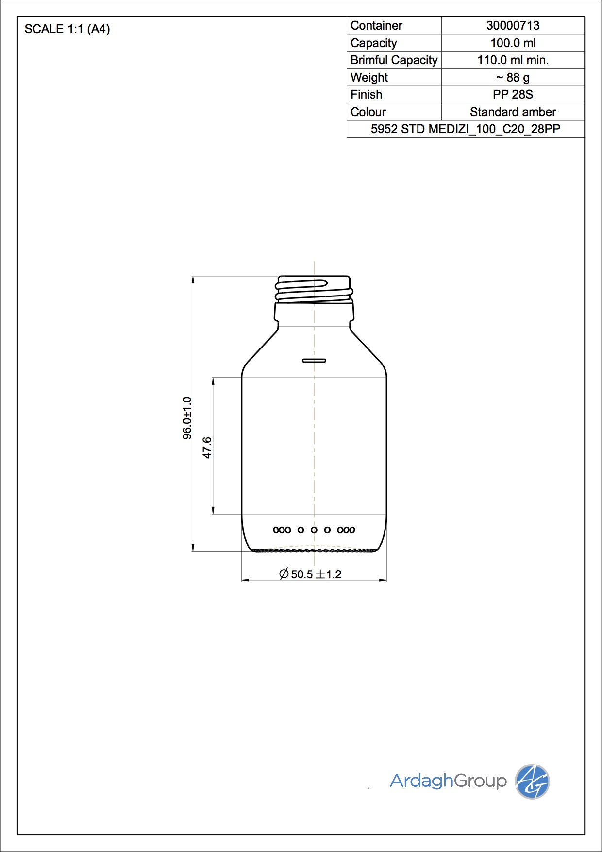 100ml amber glass syrup bottle