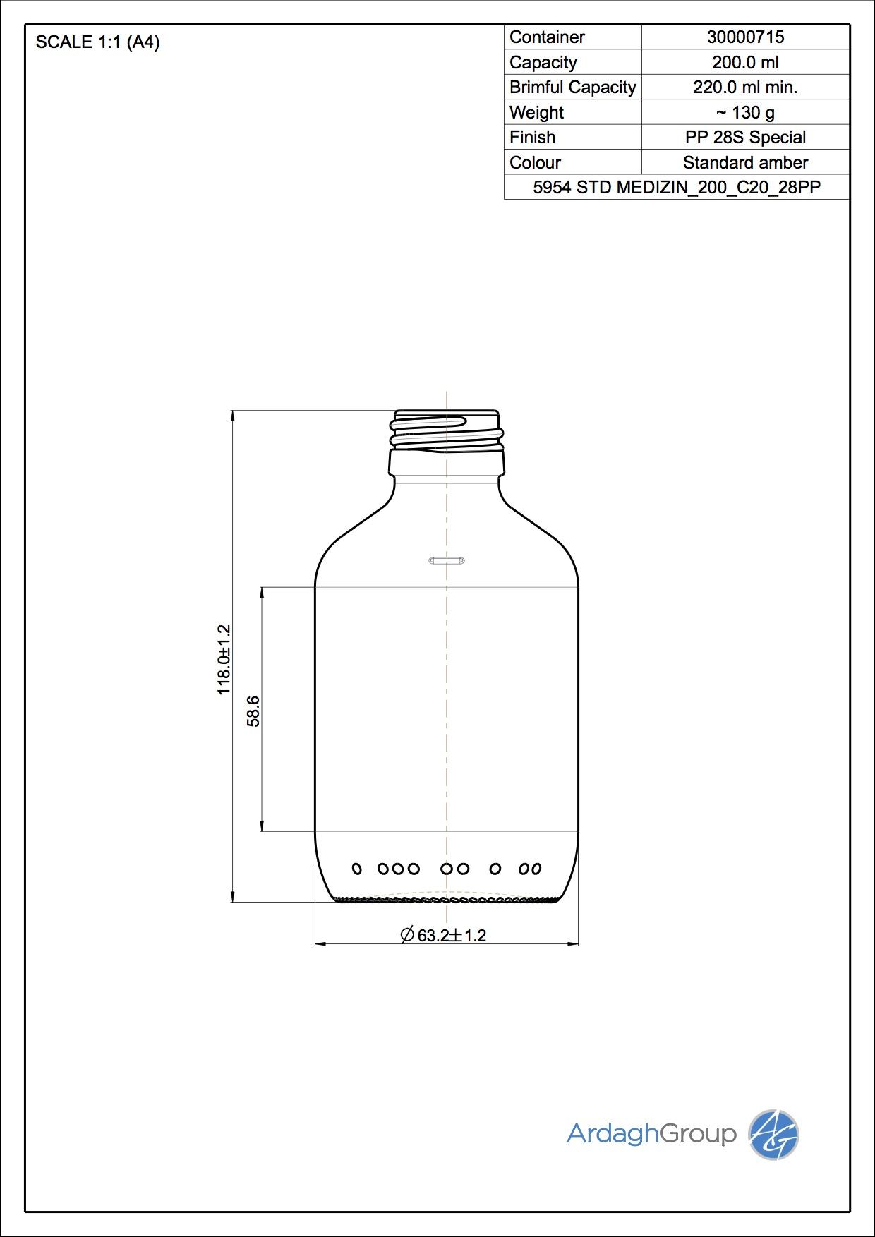 medicine bottle 200 ml