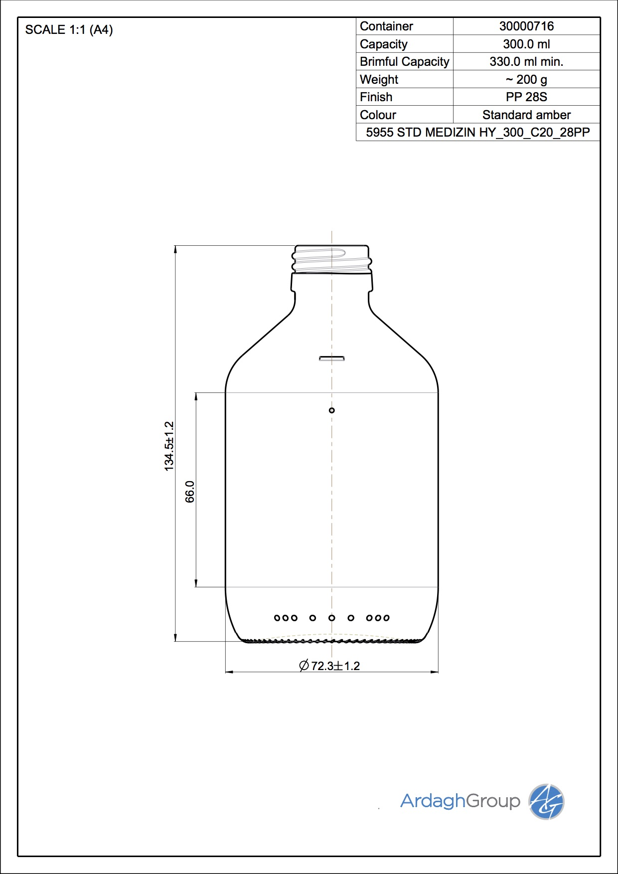 300ml amber glass syrup bottle