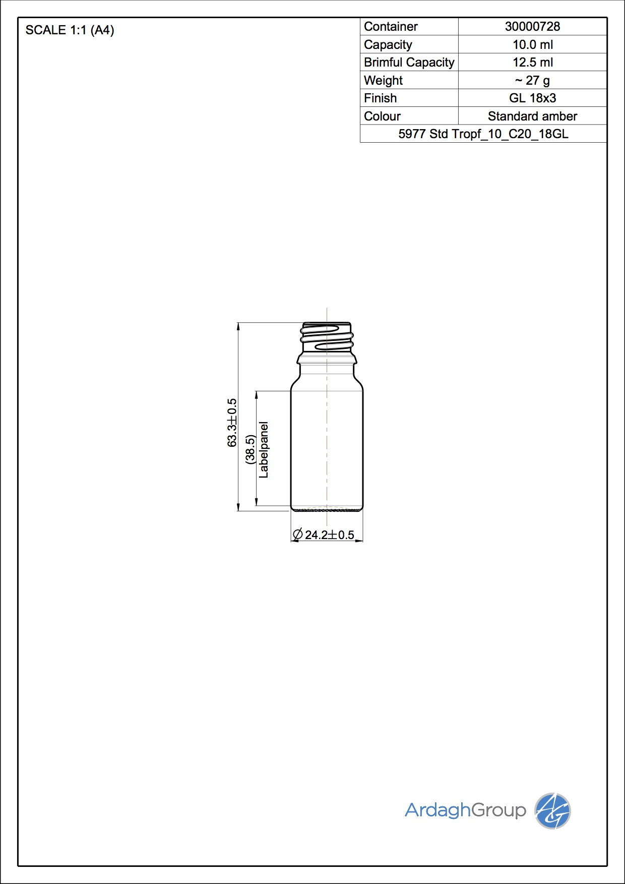 10ml amber glass dropper bottle