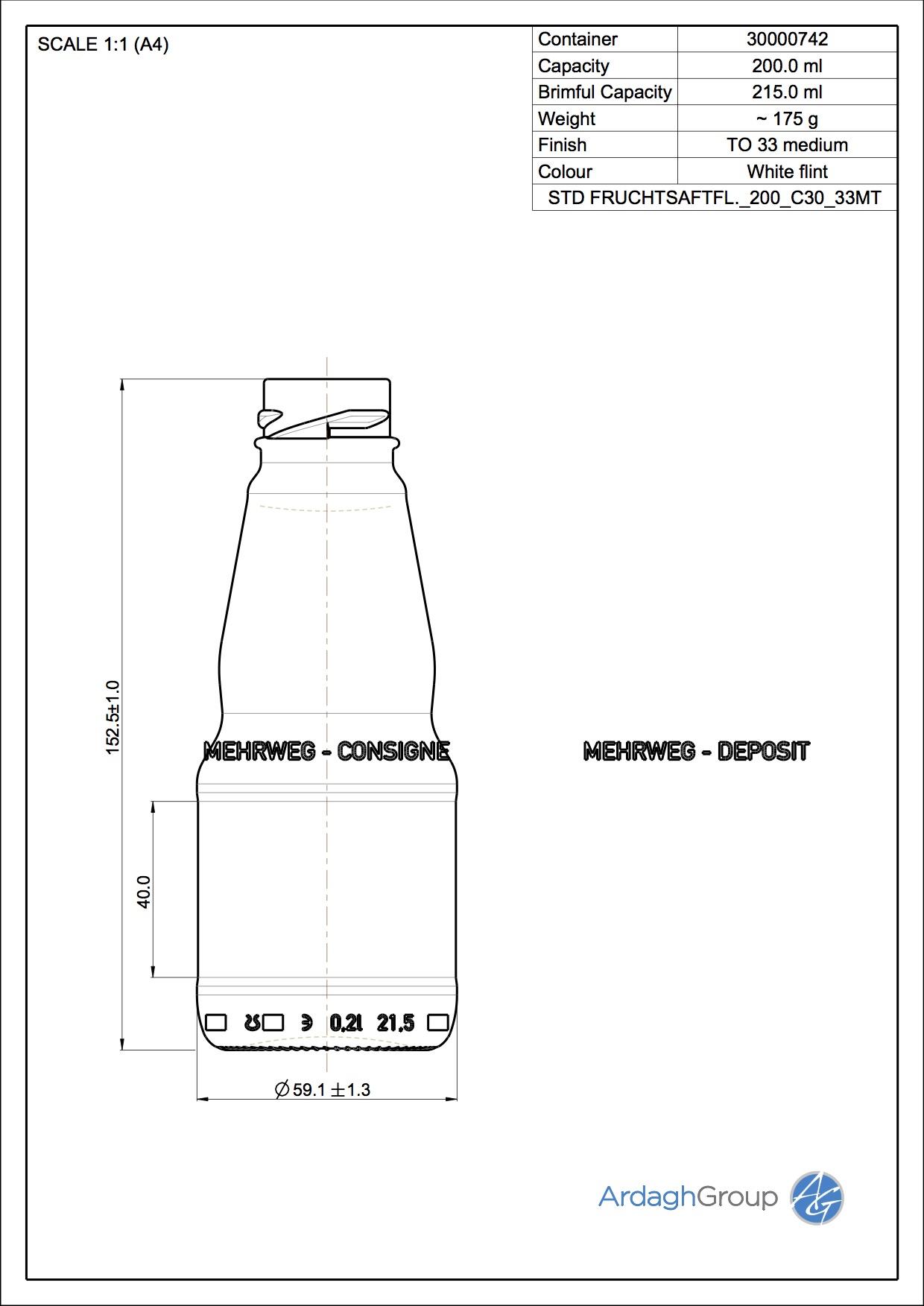 FRUCHTSAFTFL. 200 C30 33MT