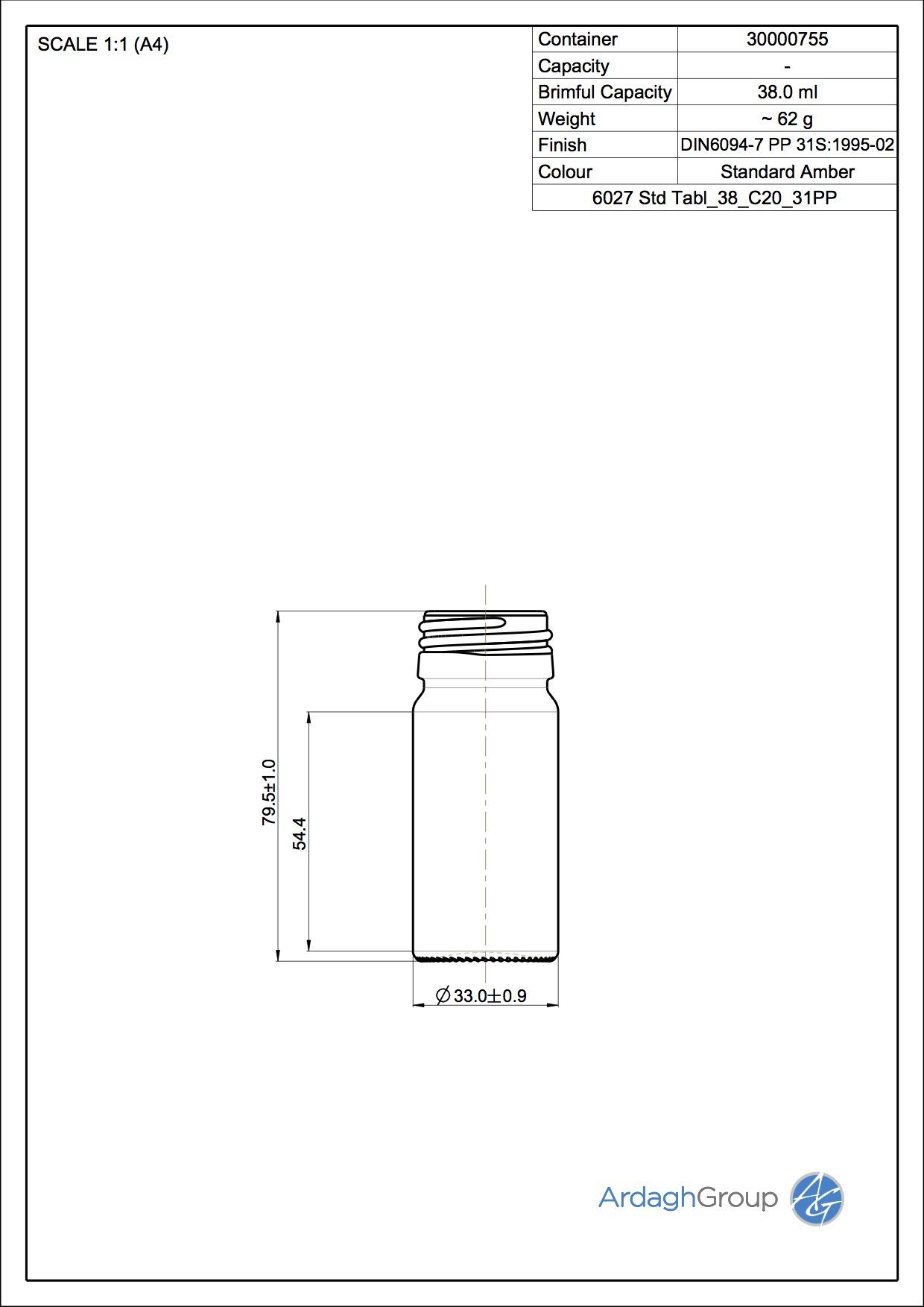 tablet bottle 38 ml