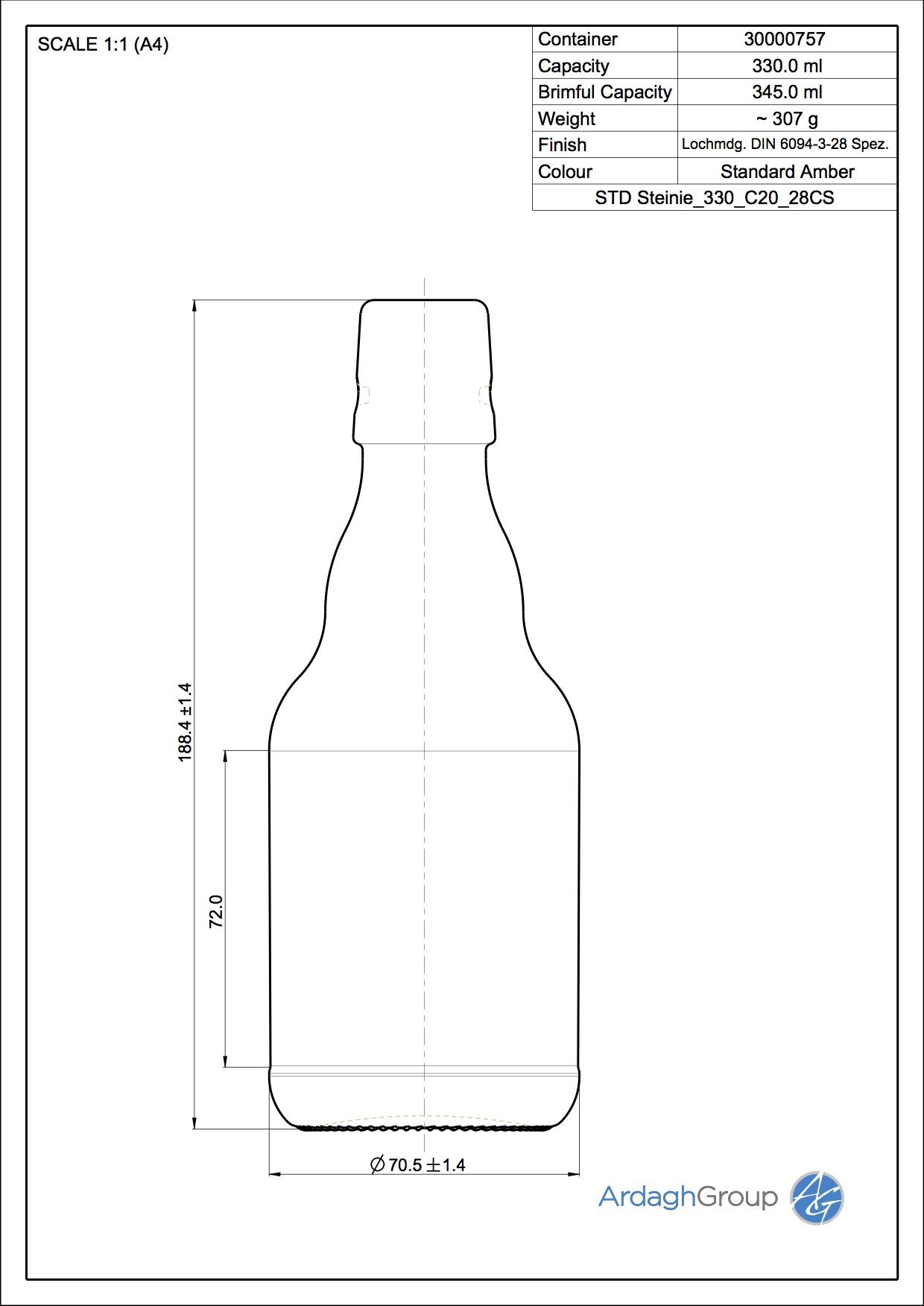 330ml Amber Glass Steinie Swingtop Returnable Beer Bottle 30000757
