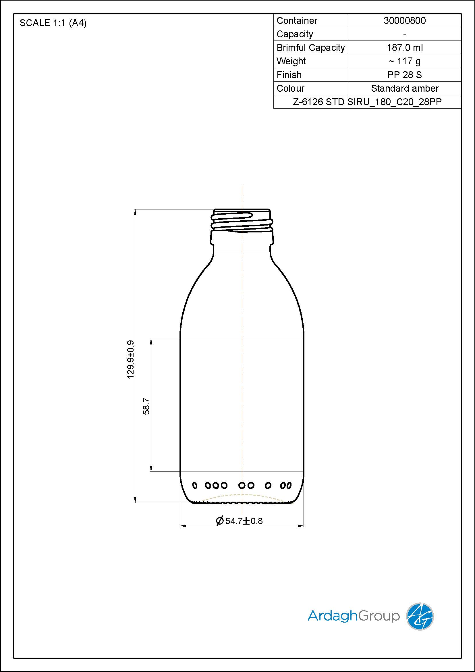 180ml amber glass syrup bottle