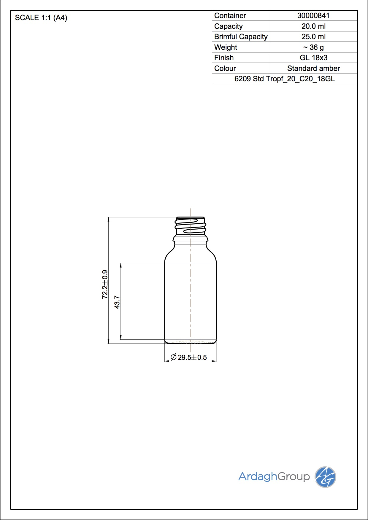 20ml amber glass dropper bottle