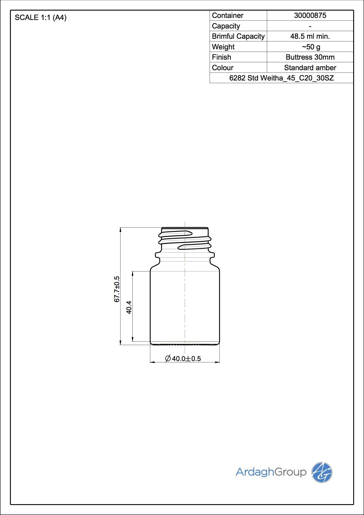 tablet bottle 45 ml