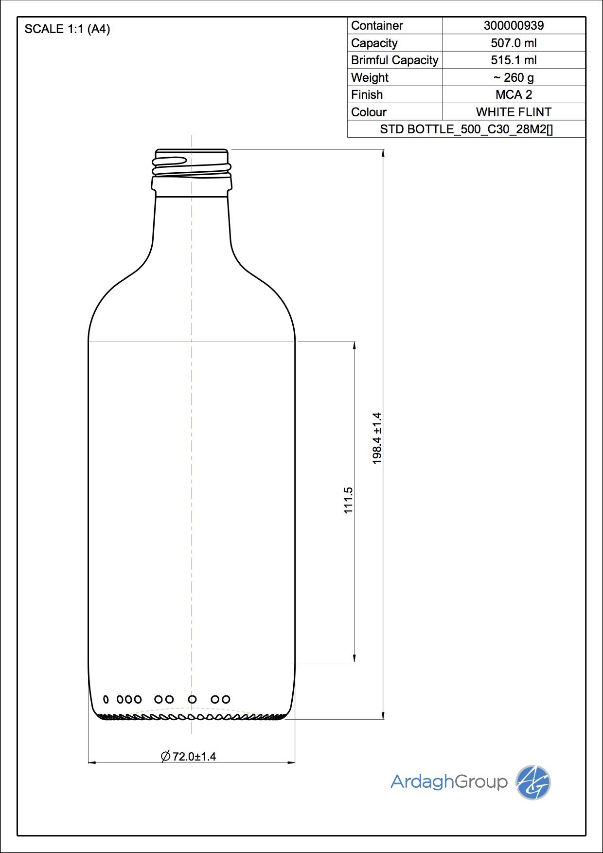 500ml Flint Glass NAB Bottle 30000939