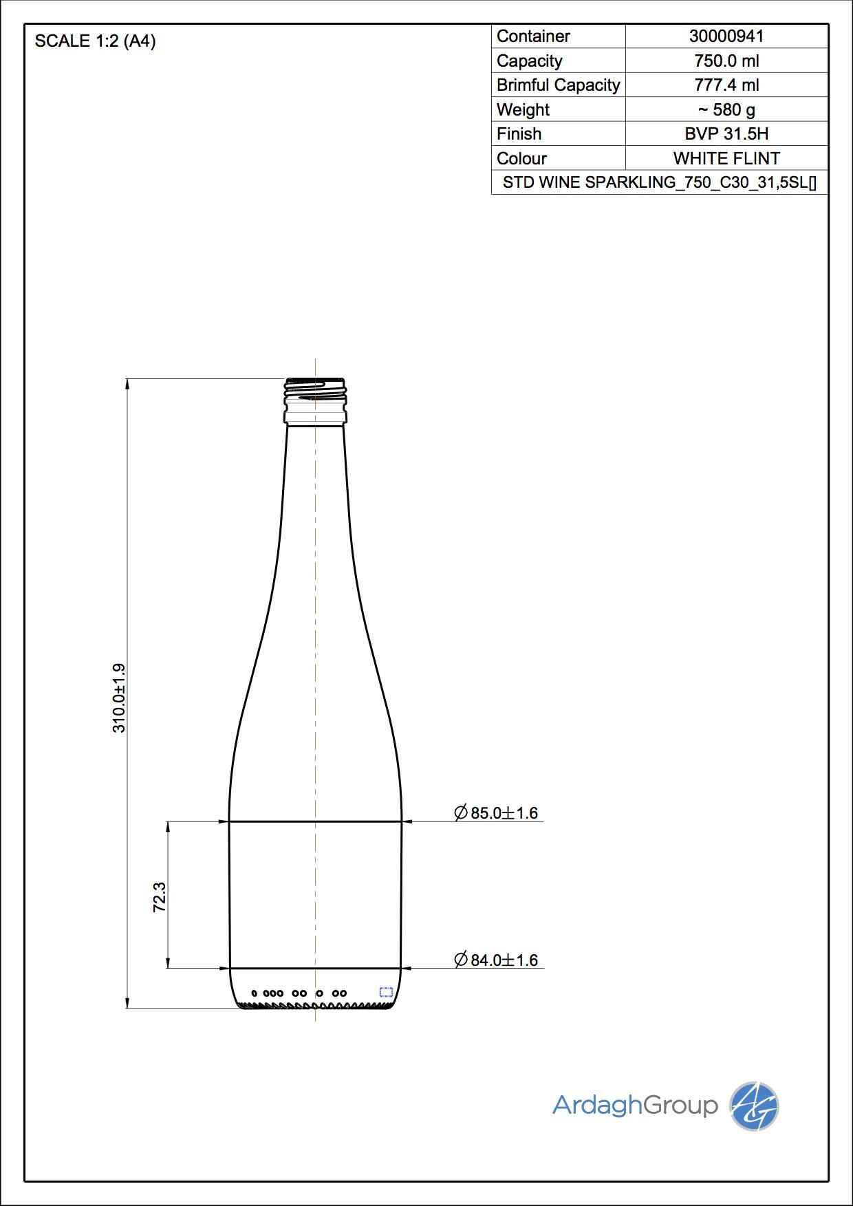 STD WINE SPARKLING 750 C30 32SL