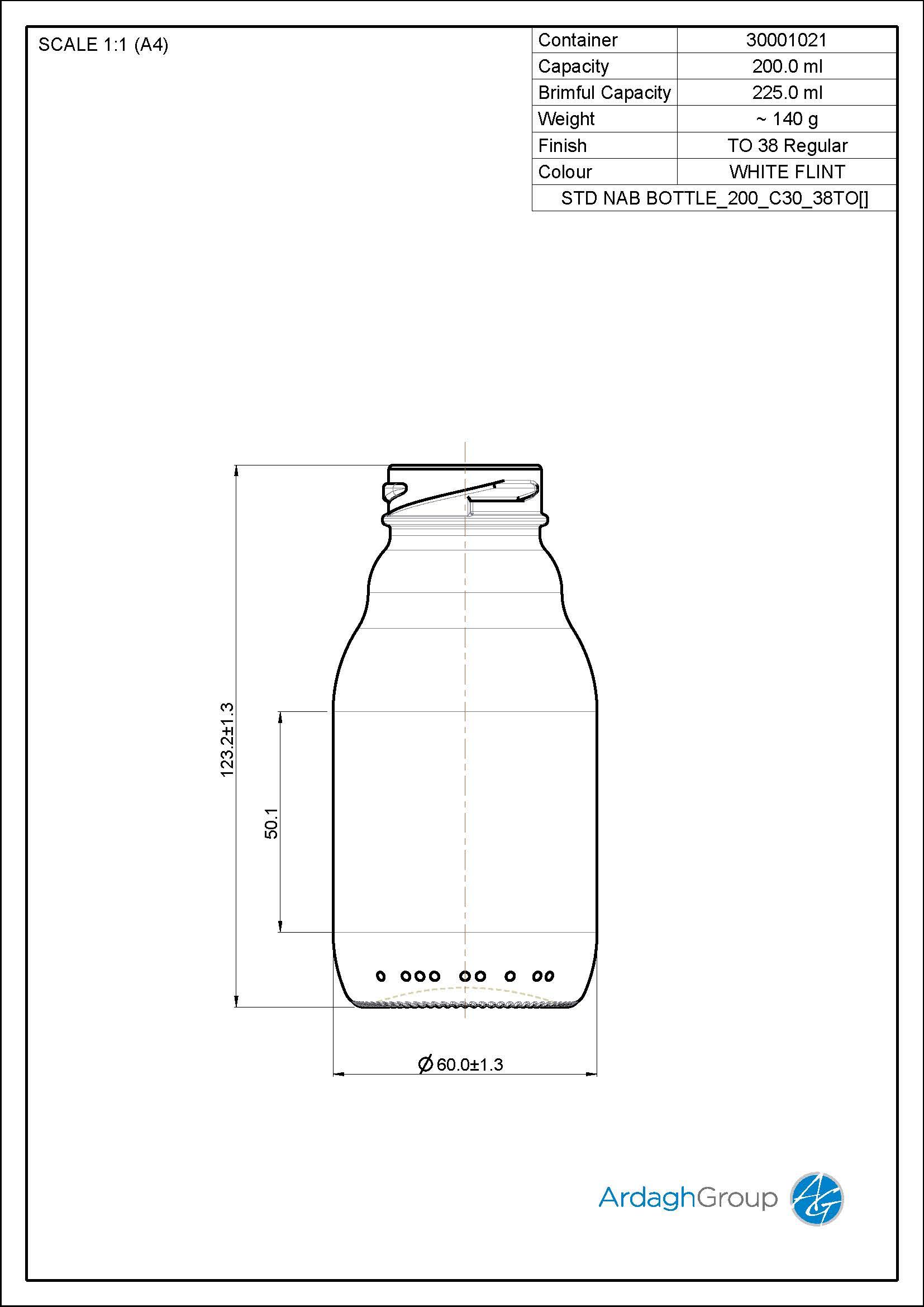 200ml flint glass oneway NAB bottle