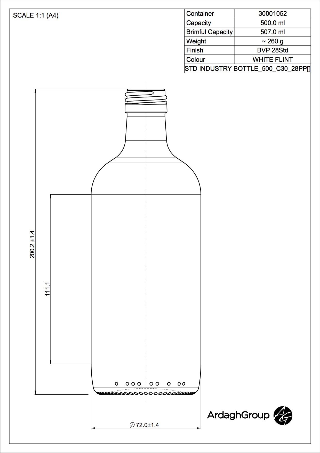 500ml flint glass Industry food bottle