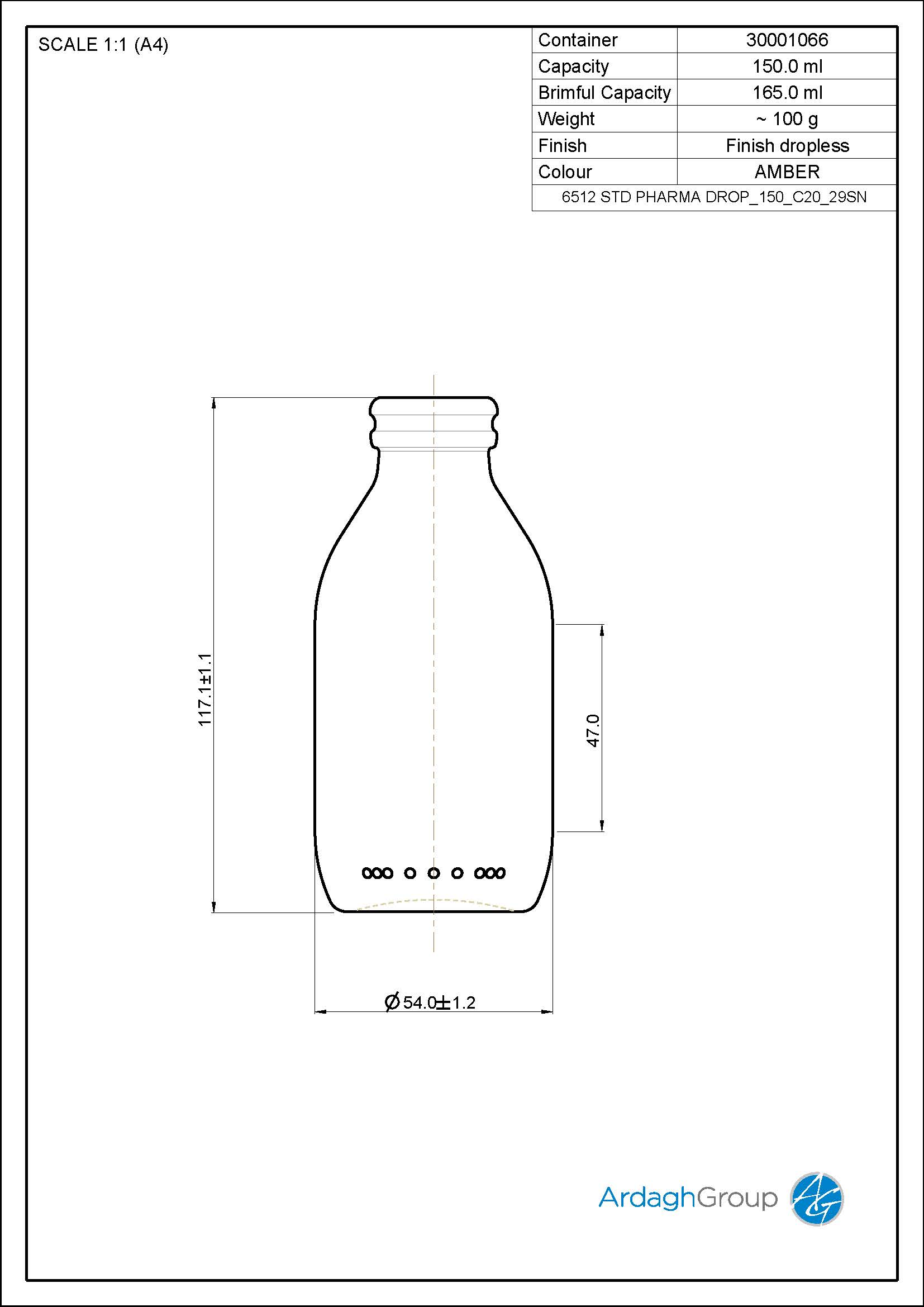 150ml amber glass dropless bottle