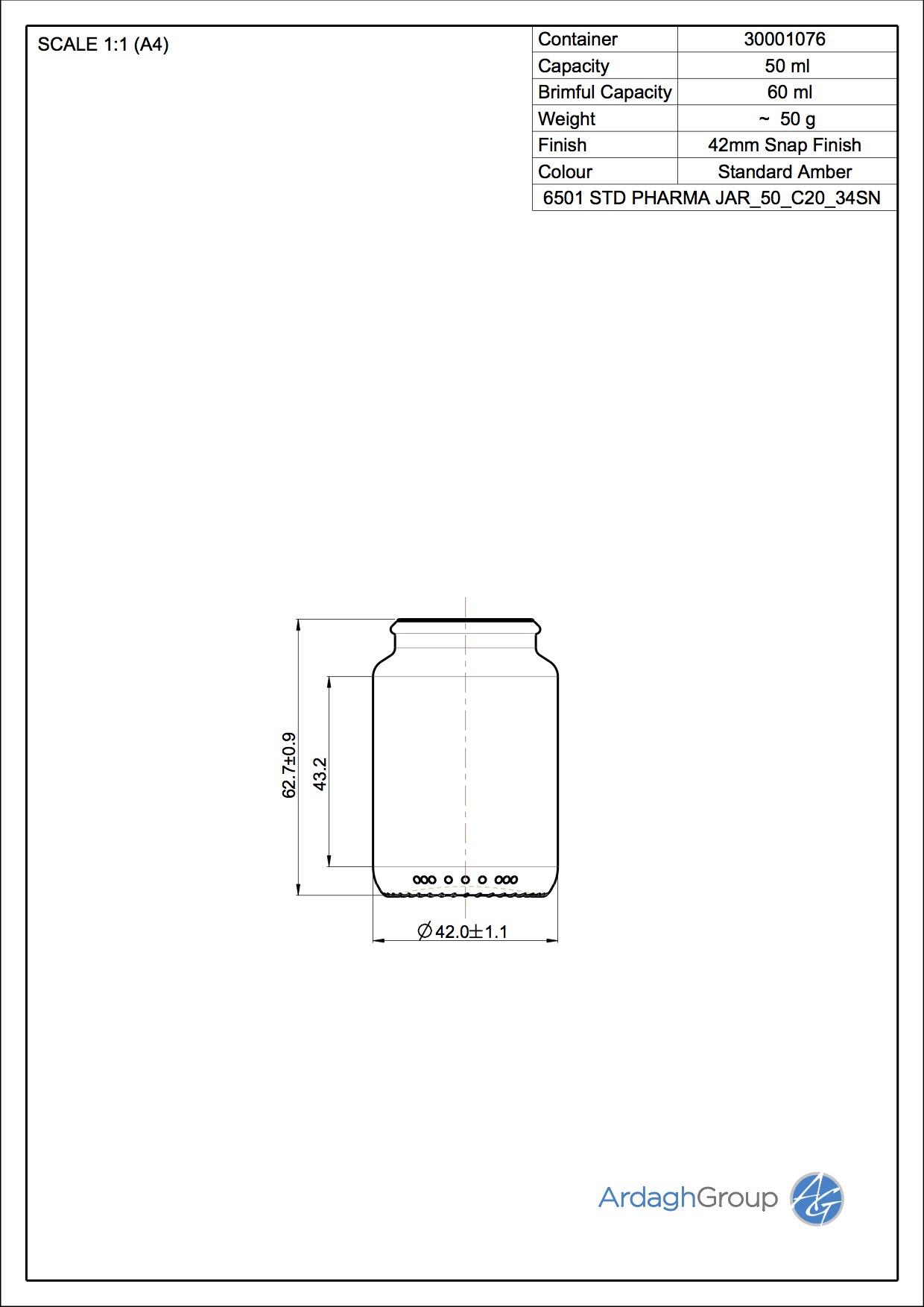 STD PHARMA JAR 50 C20 34SN