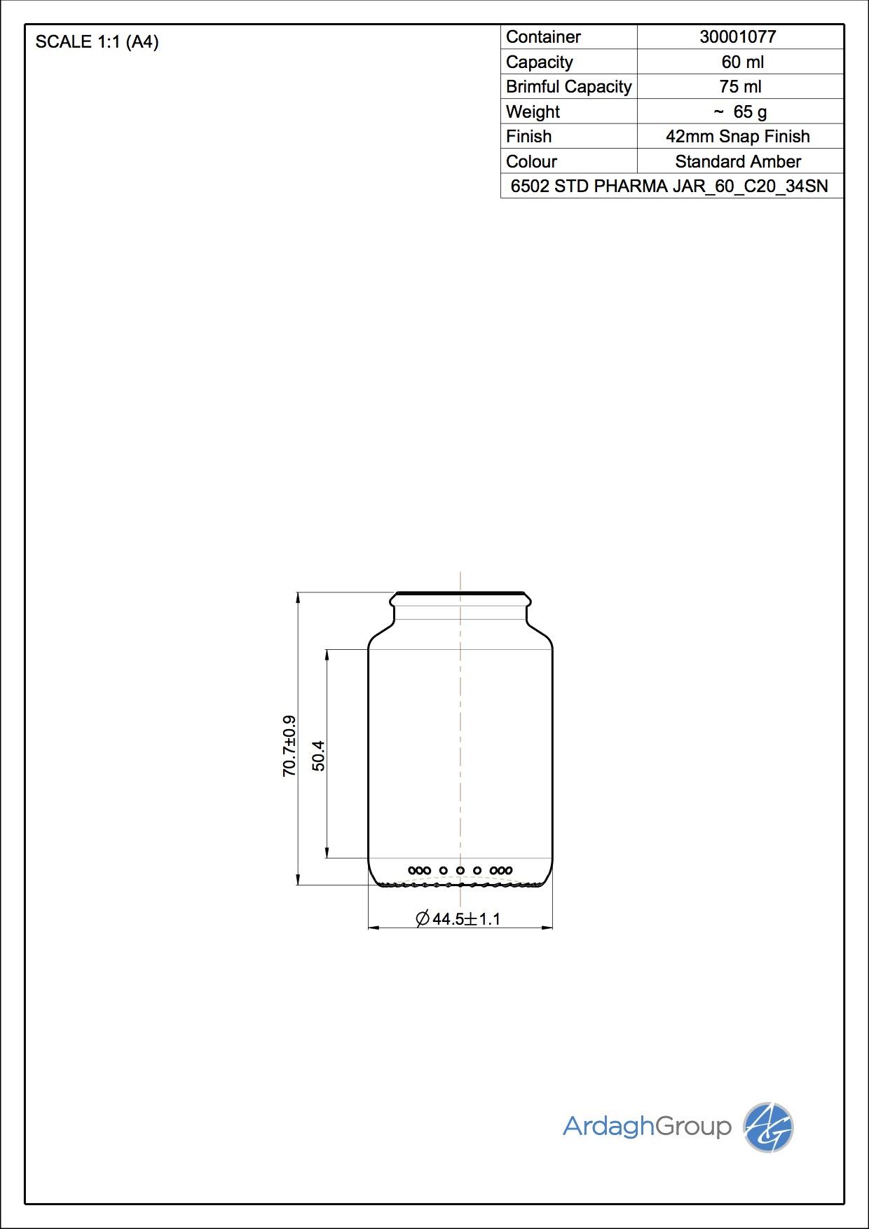 STD PHARMA JAR 60 C20 34SN