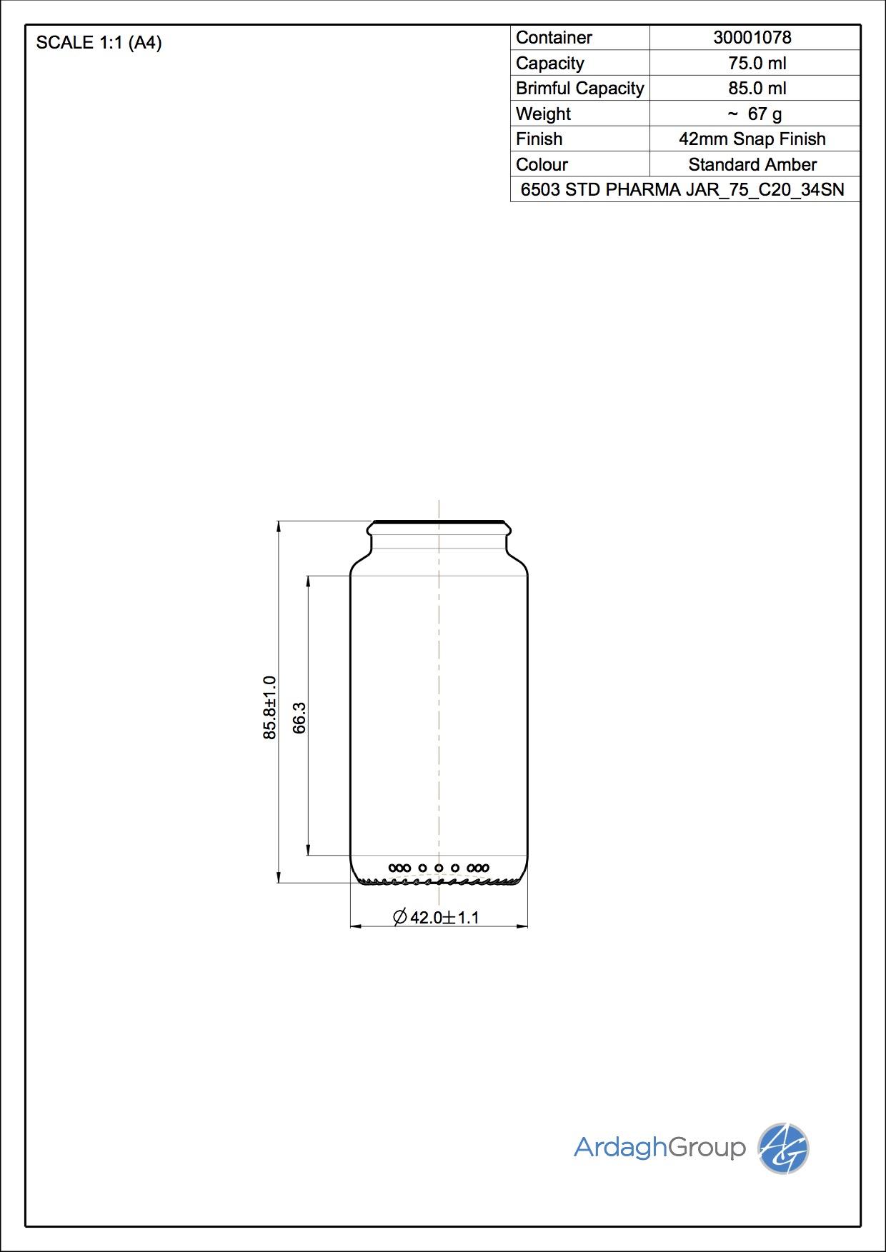STD PHARMA JAR 75 C20 34SN