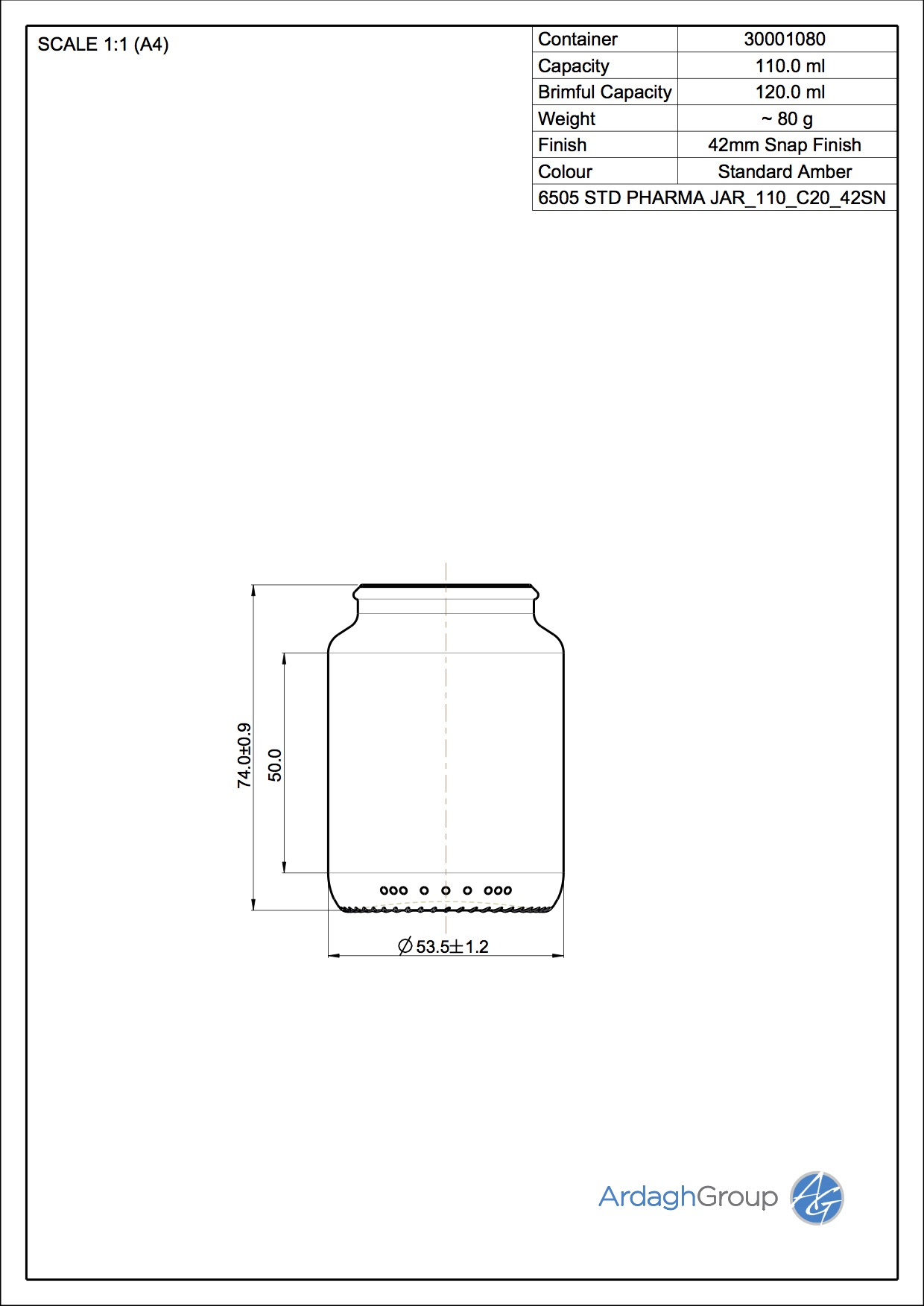 STD PHARMA JAR 110 C20 42SN