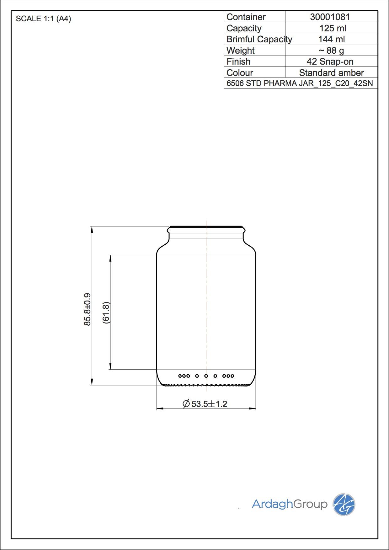 STD PHARMA JAR 125 C20 42SN
