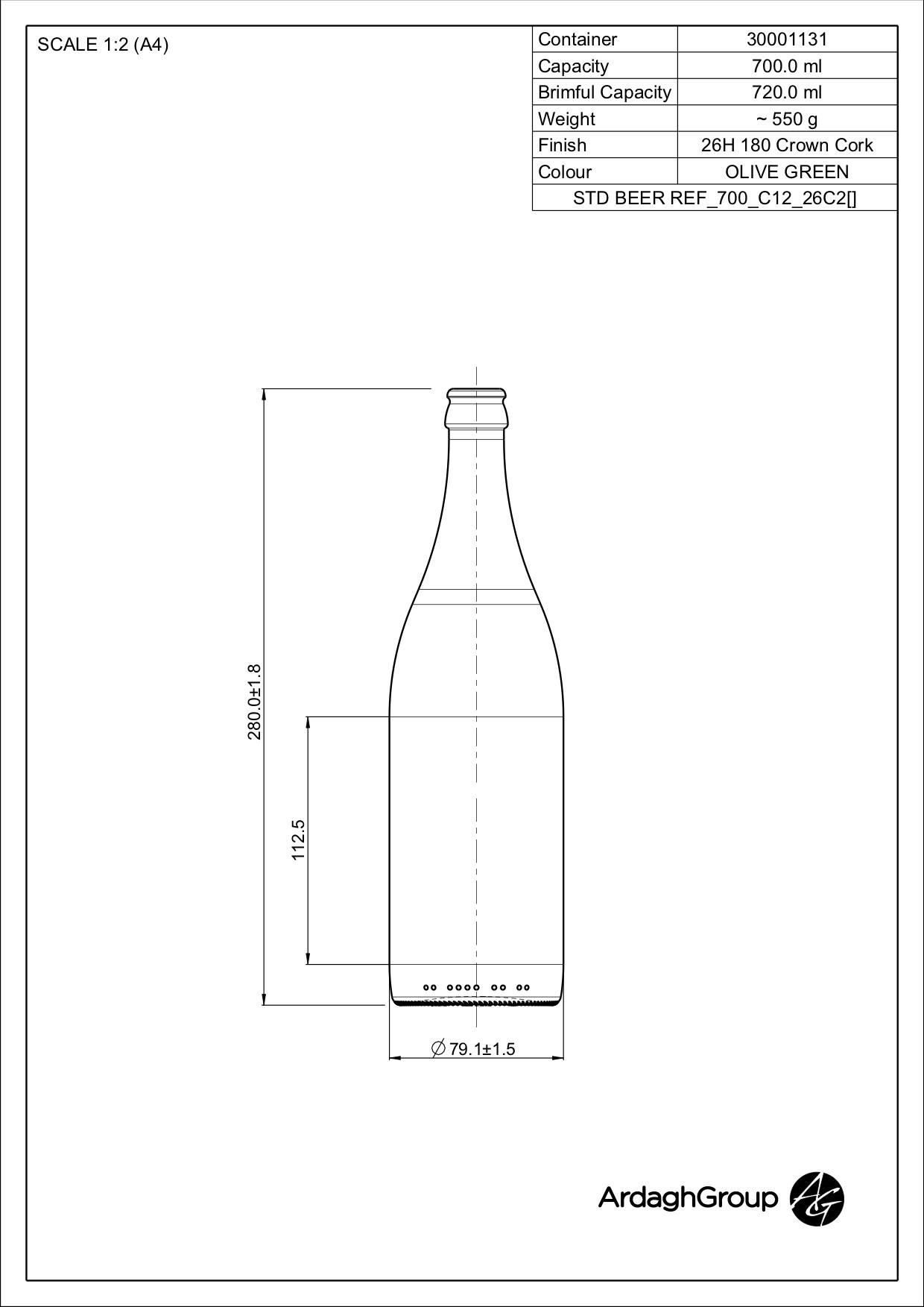 700ml green glass returnable beer bottle