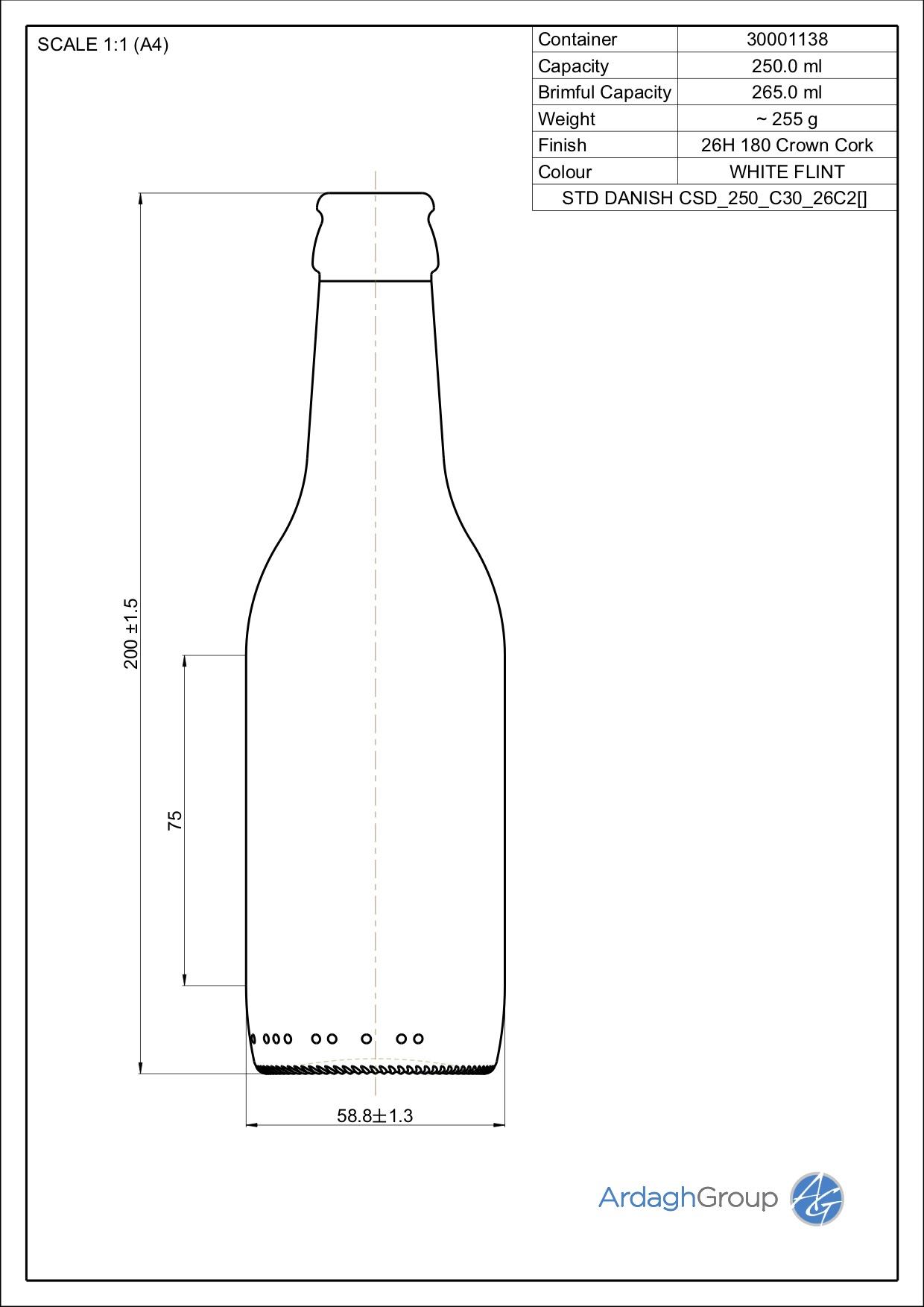 265ml flint glass oneway Danish NAB bottle